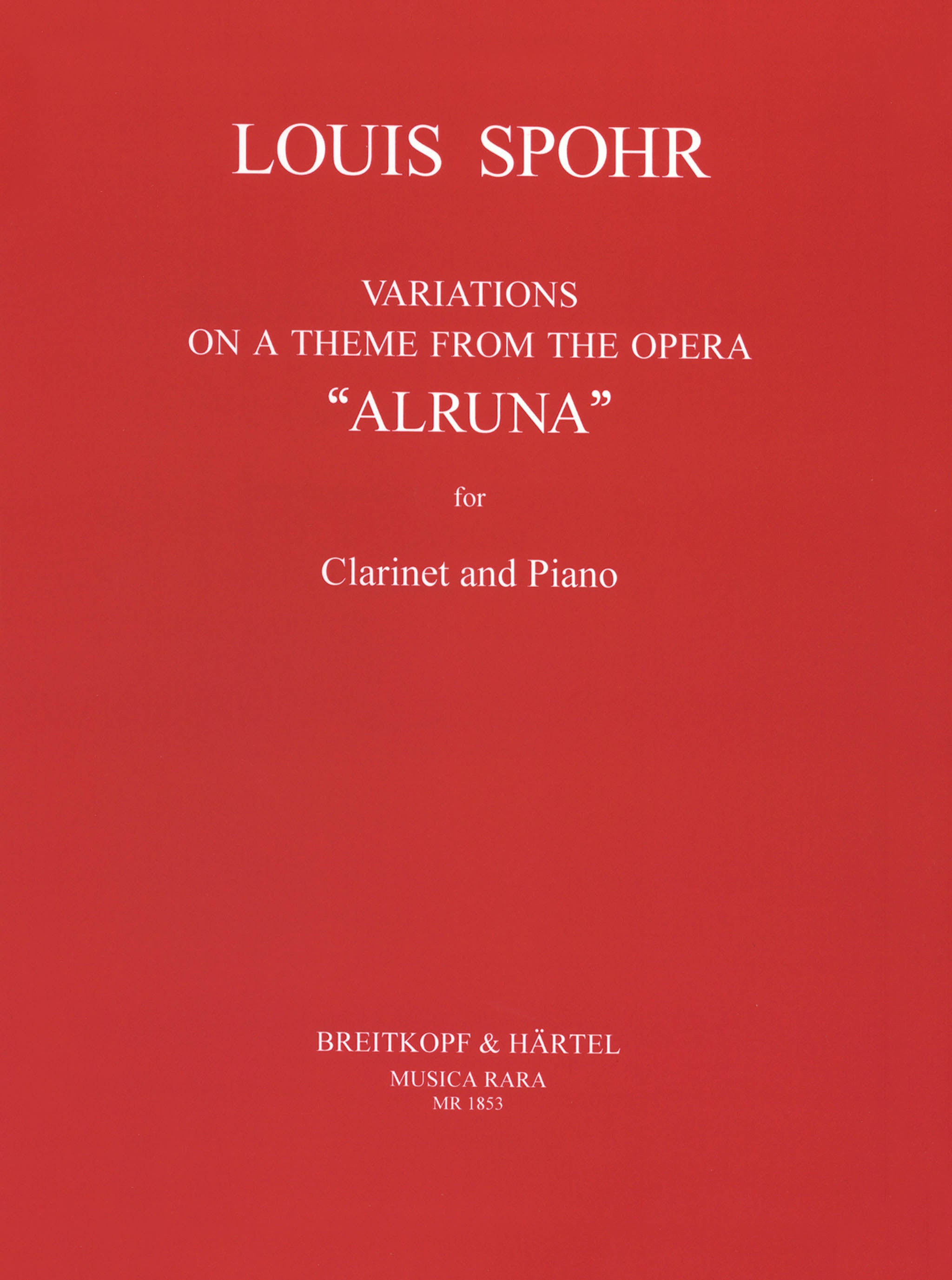 Spohr Variations on a Theme from 'Alruna,' WoO 15 Cover