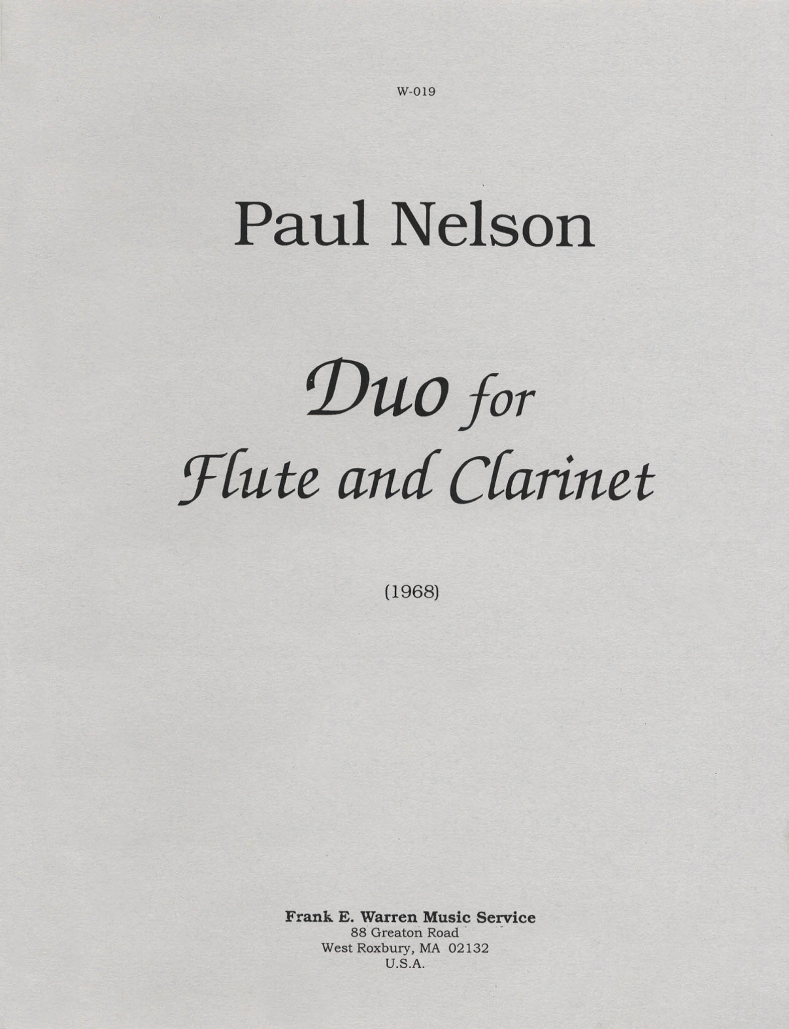 Duo for Flute & Clarinet Cover