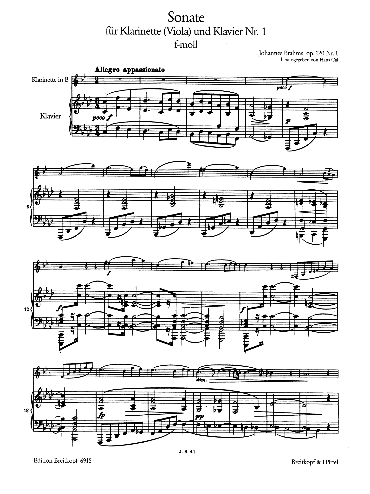 Sonata in F Minor, Op. 120 No. 1 - Movement 1