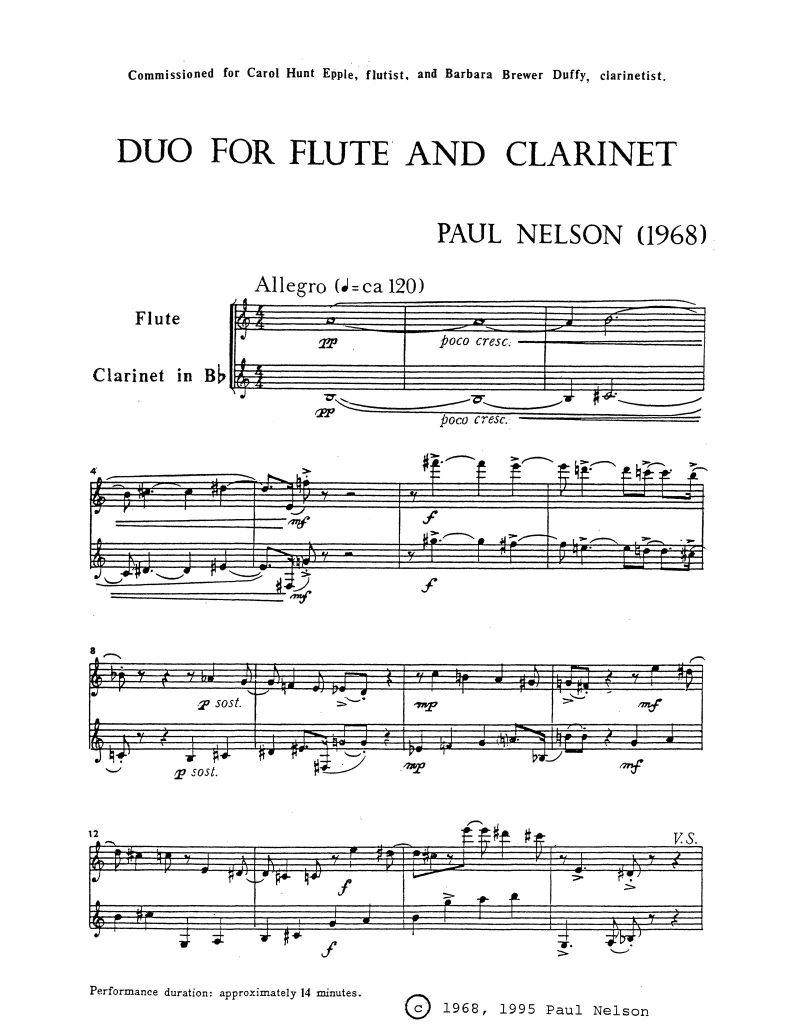 Duo for Flute & Clarinet Score