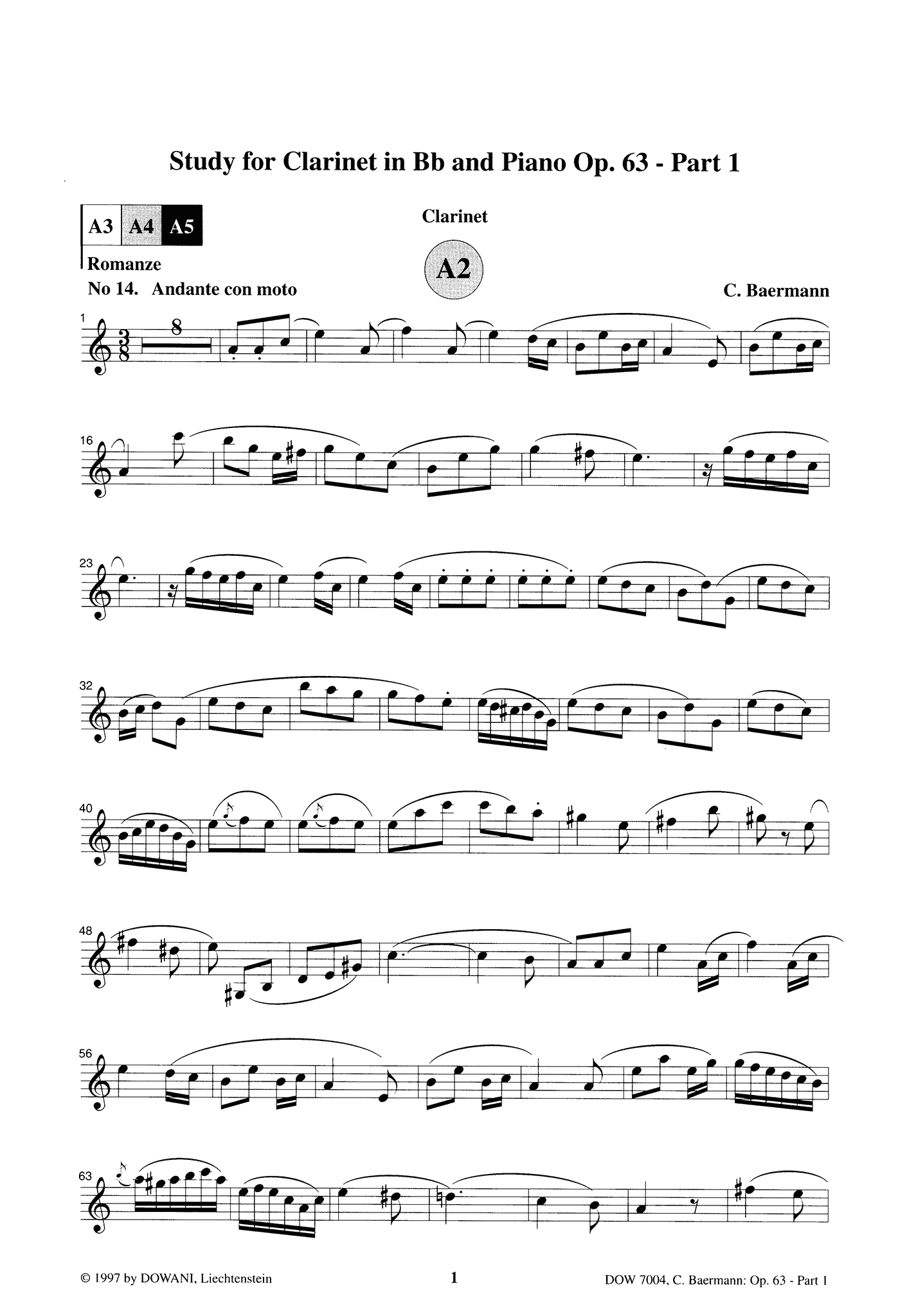 Clarinet Method, Op. 63, Div. II: Part 1 of 3 Clarinet part Page 1