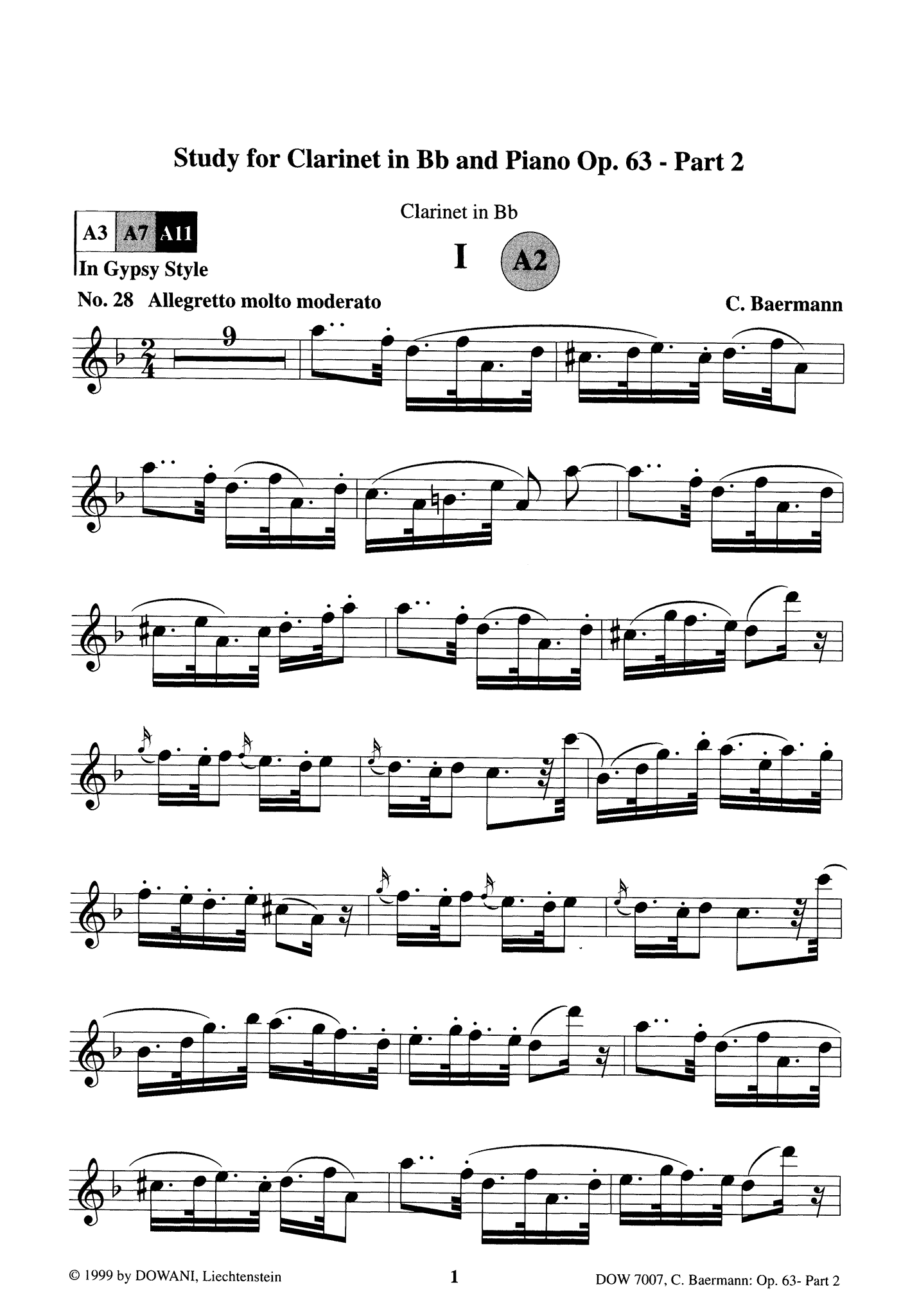 Clarinet Method, Op. 63, Div. II: Part 2 of 3 Clarinet part Page 1