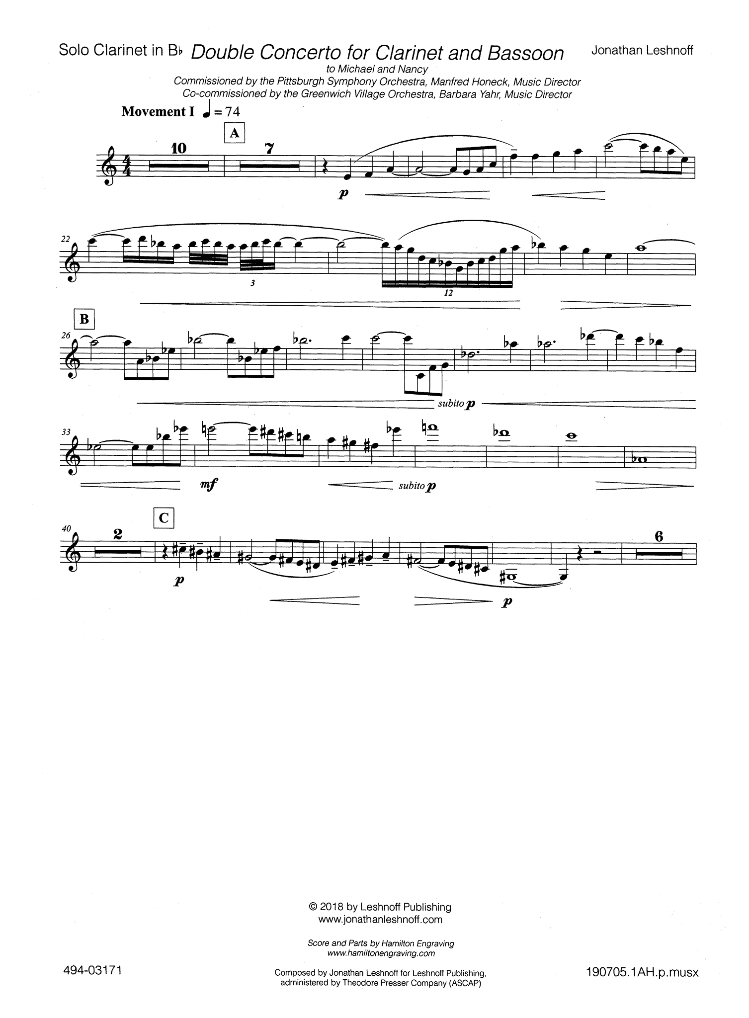 Leshnoff Double Concerto Clarinet part