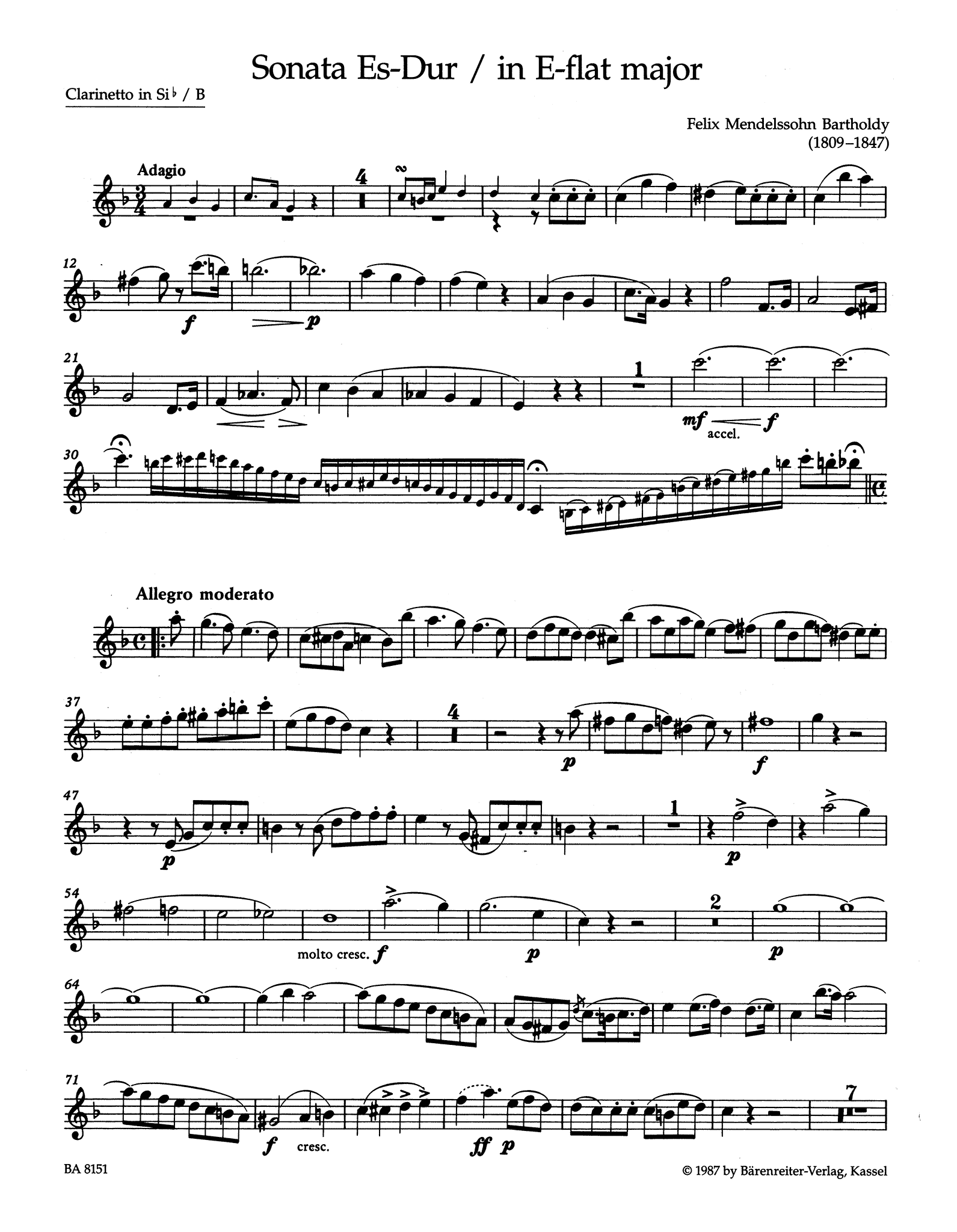 Sonata in E-flat Major for Clarinet & Piano Clarinet part