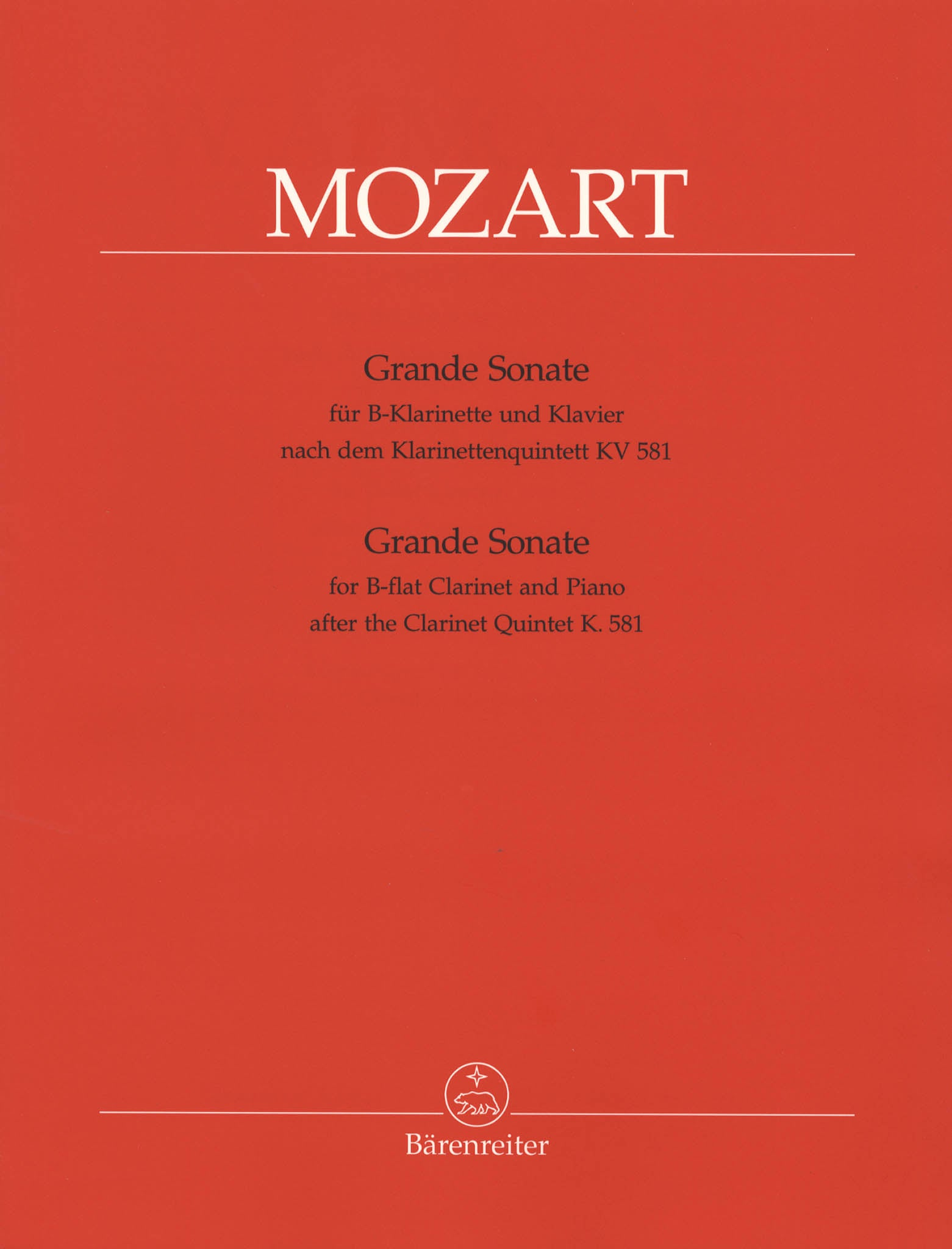 Grande Sonate after the Clarinet Quintet, K. 581 Cover