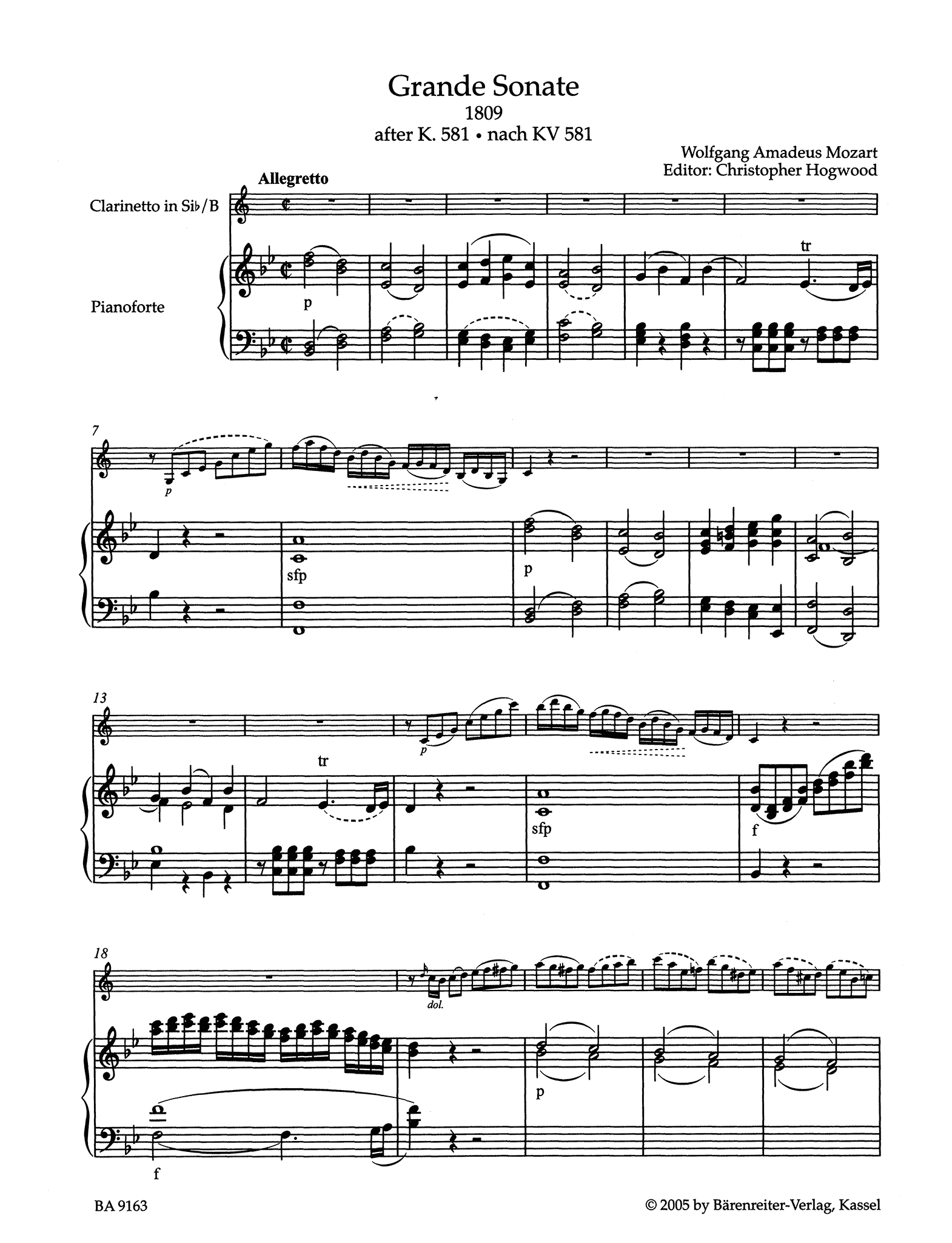 Grande Sonate after the Clarinet Quintet, K. 581 - Movement 1