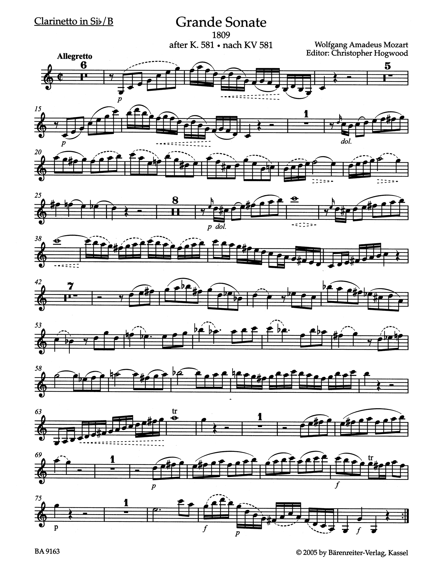 Grande Sonate after the Clarinet Quintet, K. 581 Clarinet part