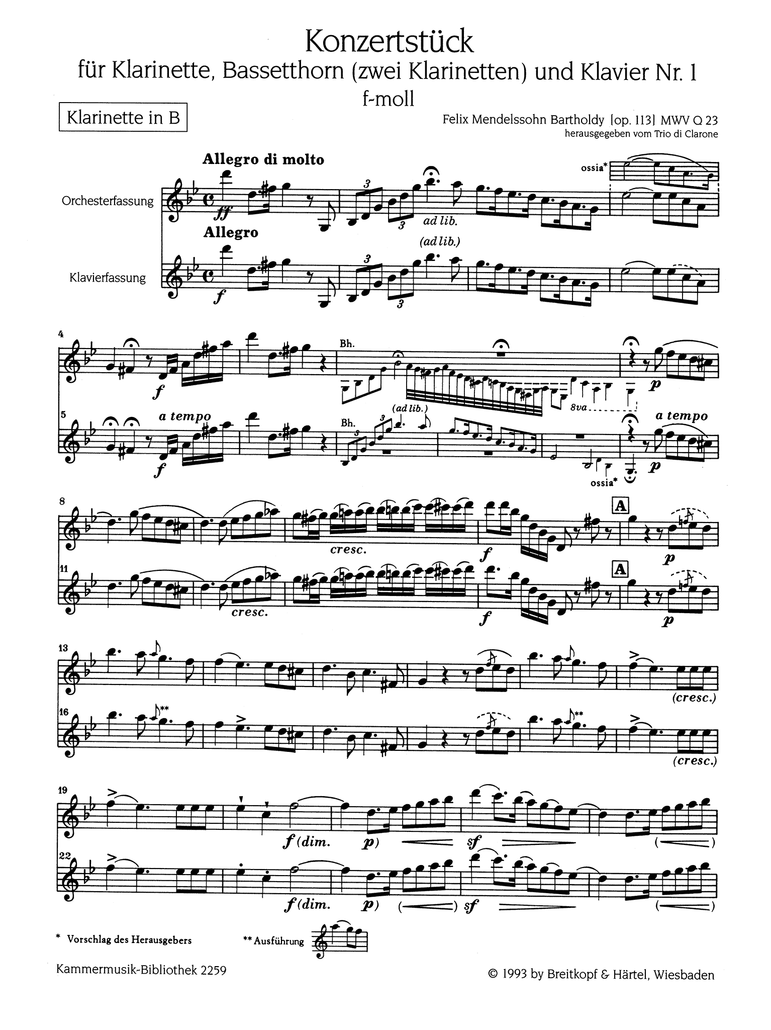 Concertpiece No. 1 in F Minor, Op. 113 First Clarinet solo part