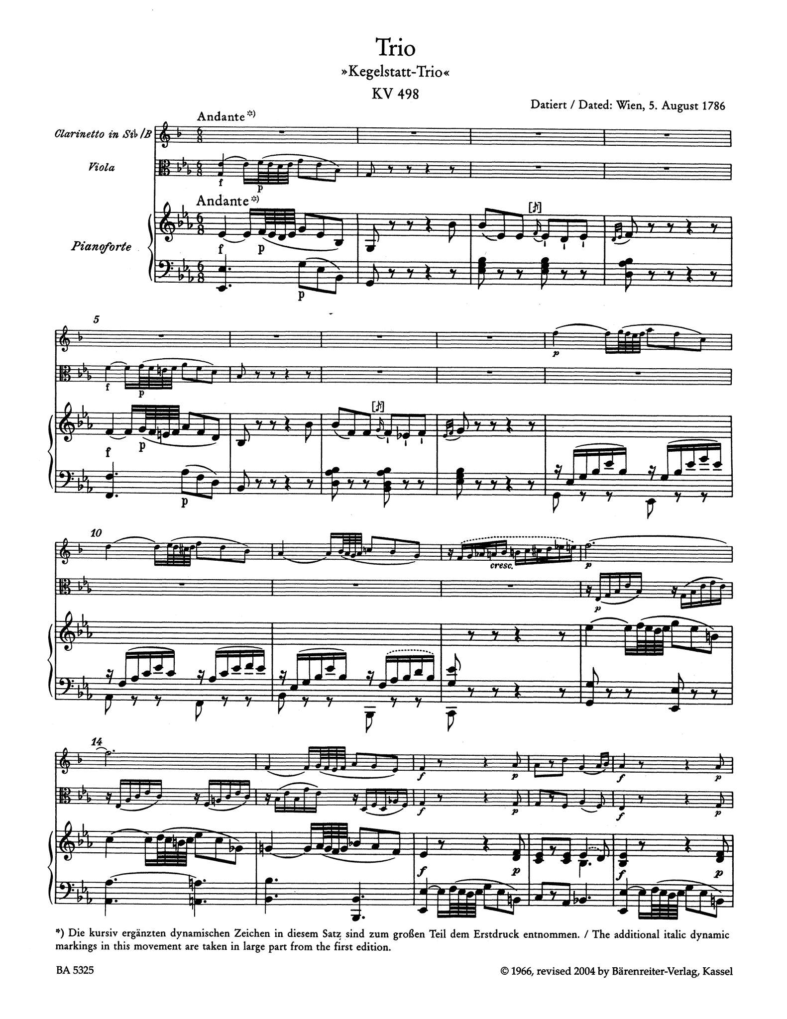 Trio in E-flat Major, K. 498, 'Kegelstatt' - Movement 1