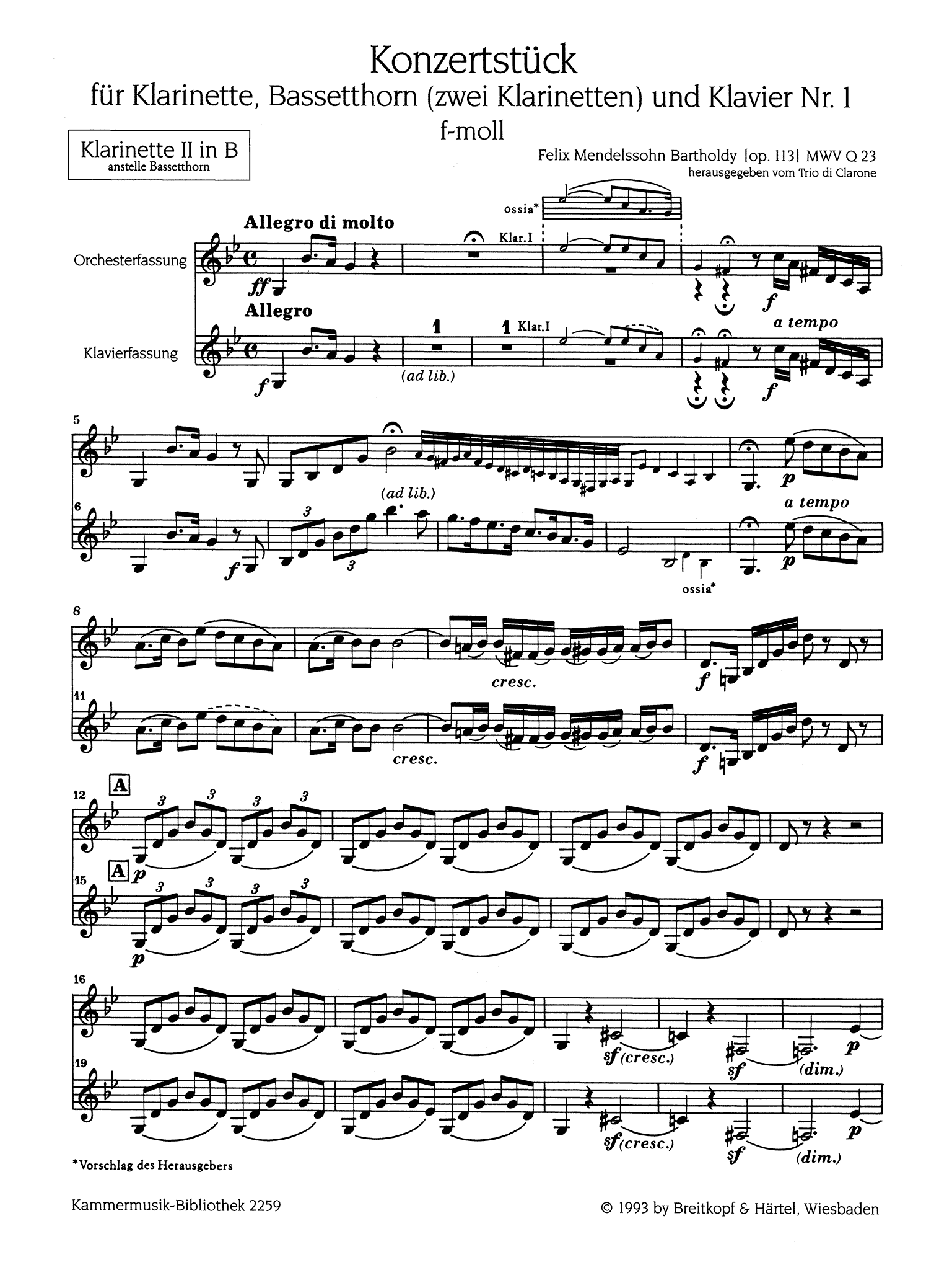 Concertpiece No. 1 in F Minor, Op. 113 B-flat Clarinet Second part