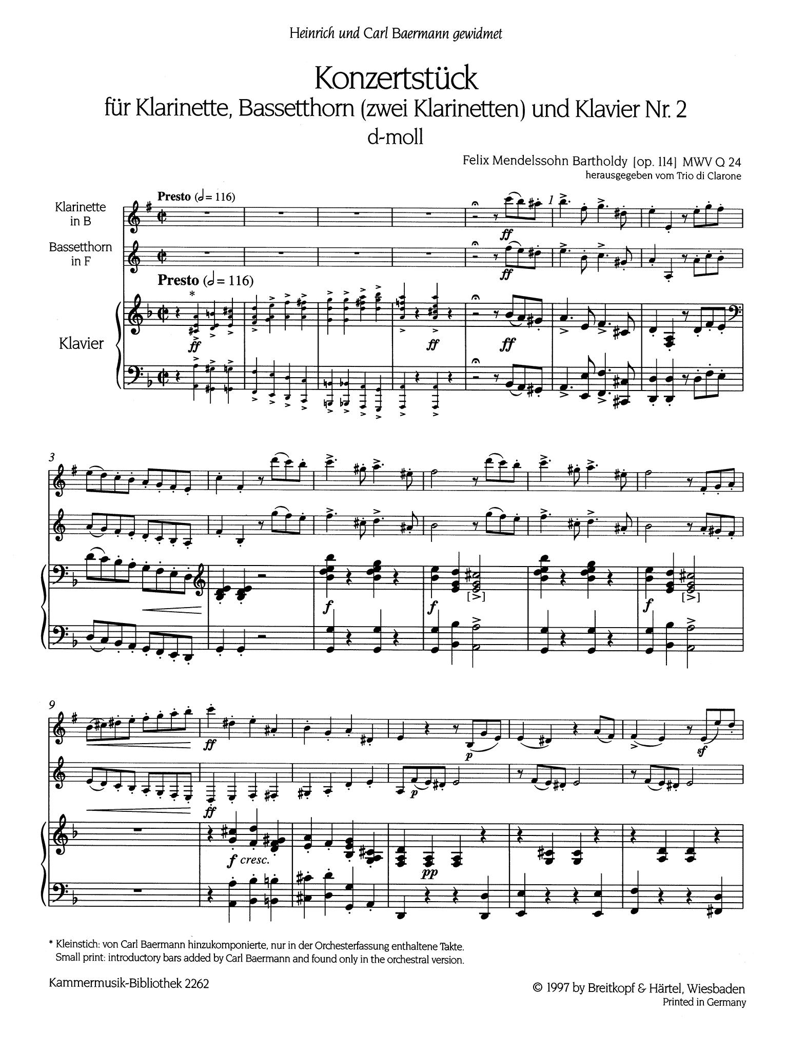 Concertpiece No. 2 in D Minor, Op. 114 Score