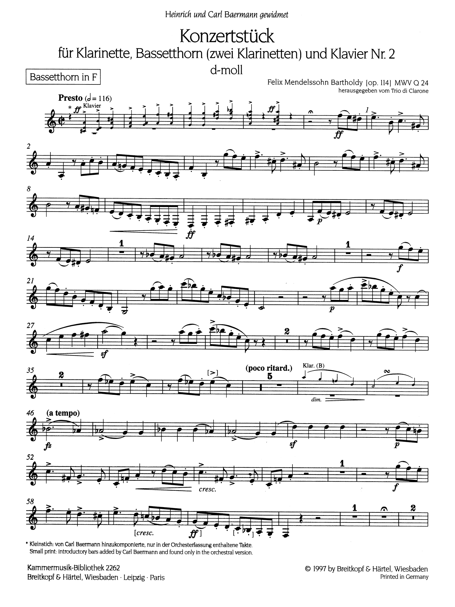 Concertpiece No. 2 in D Minor, Op. 114 Basset Horn solo part
