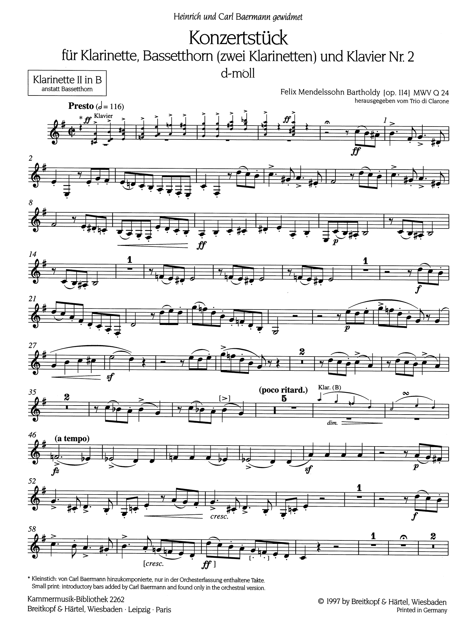 Concertpiece No. 2 in D Minor, Op. 114 B-flat Clarinet second solo part