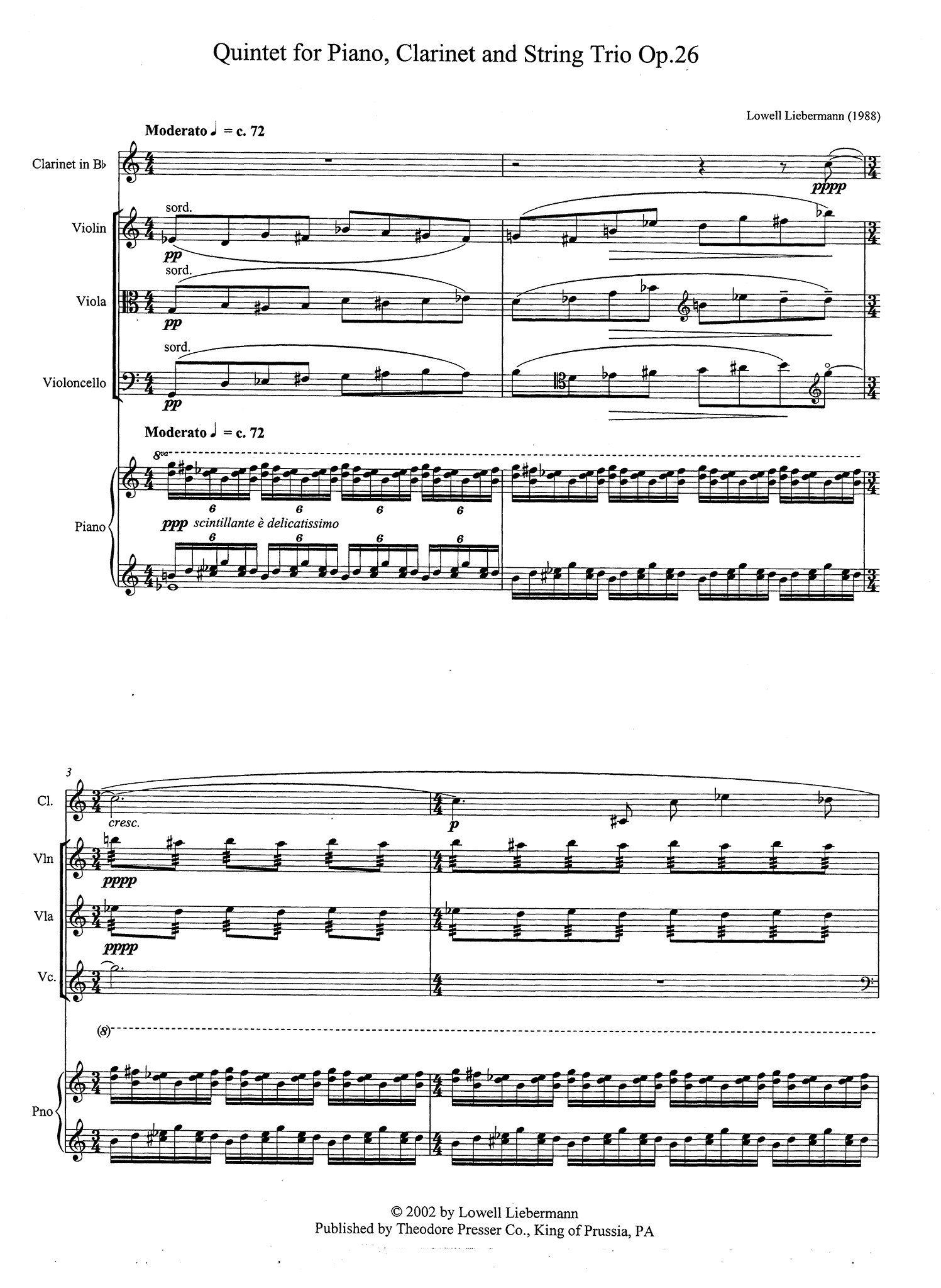 Quintet, Op. 26 - Movement 1