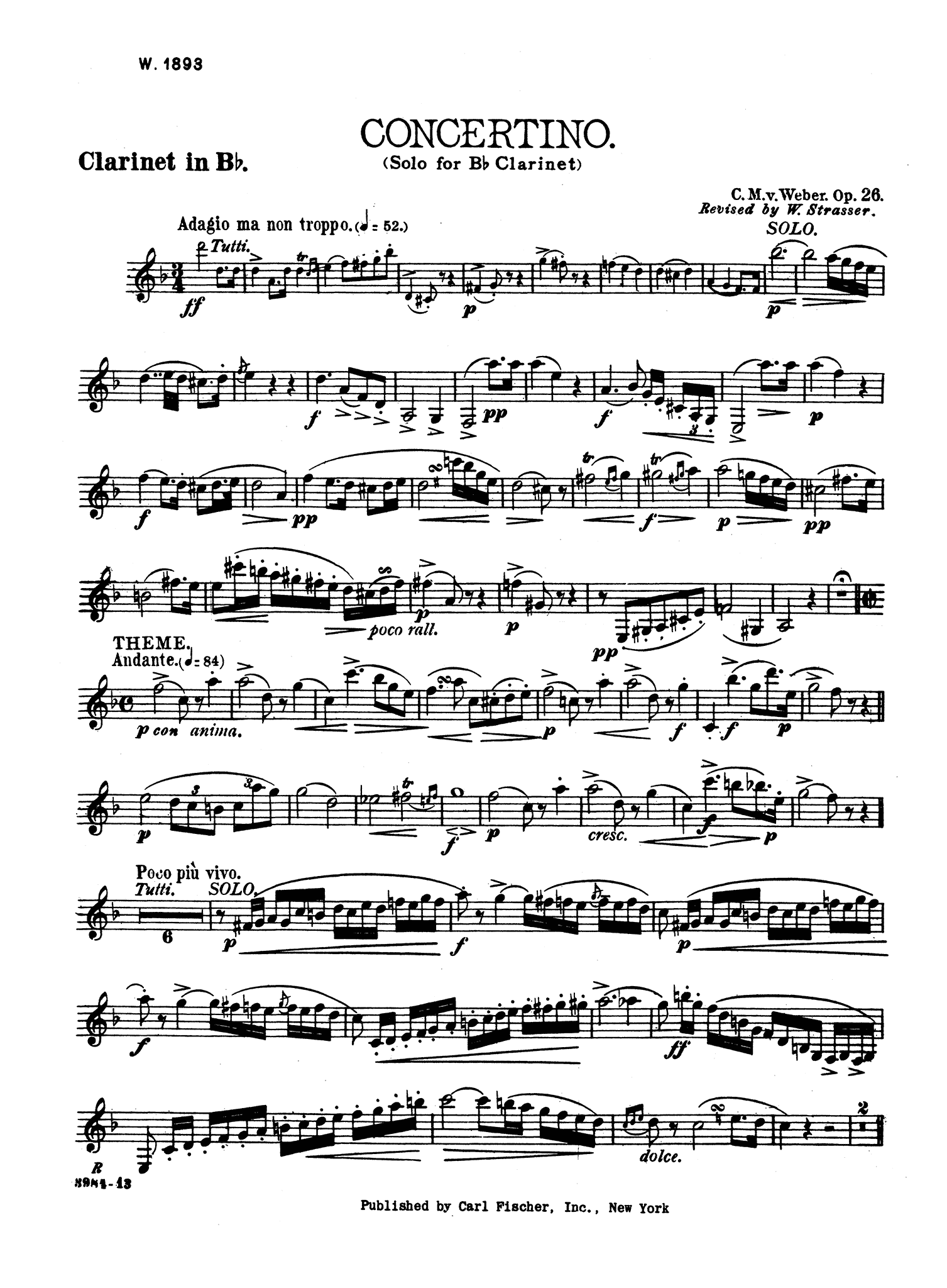 Concertino, Op. 26 Clarinet part