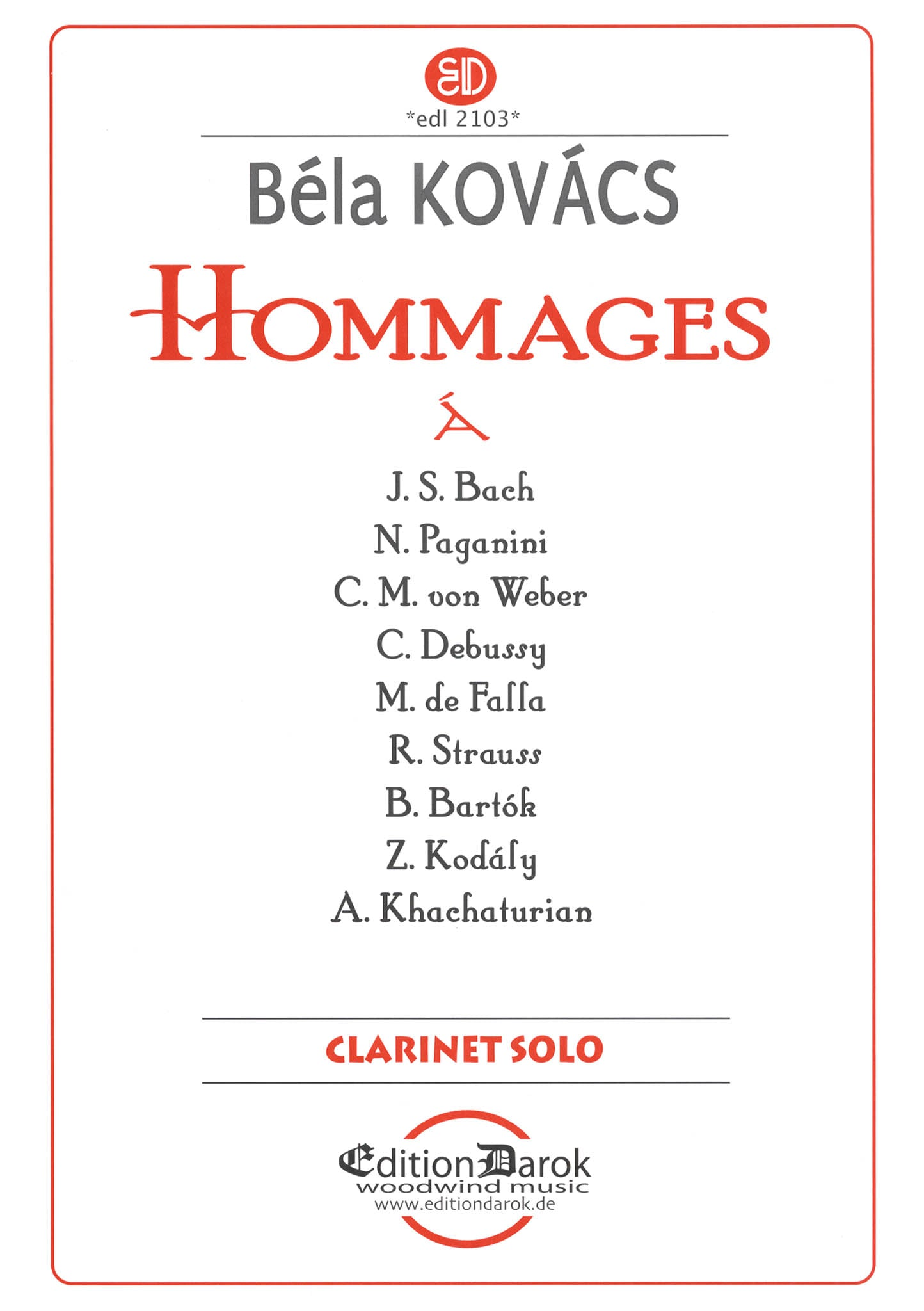 Kovacs Hommages for Clarinet Solo Cover