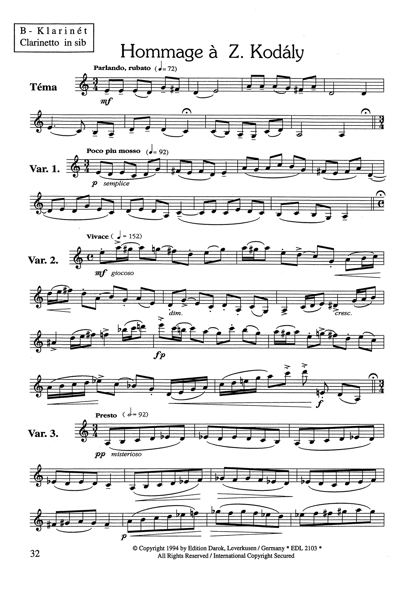 Hommages for Clarinet Page 32