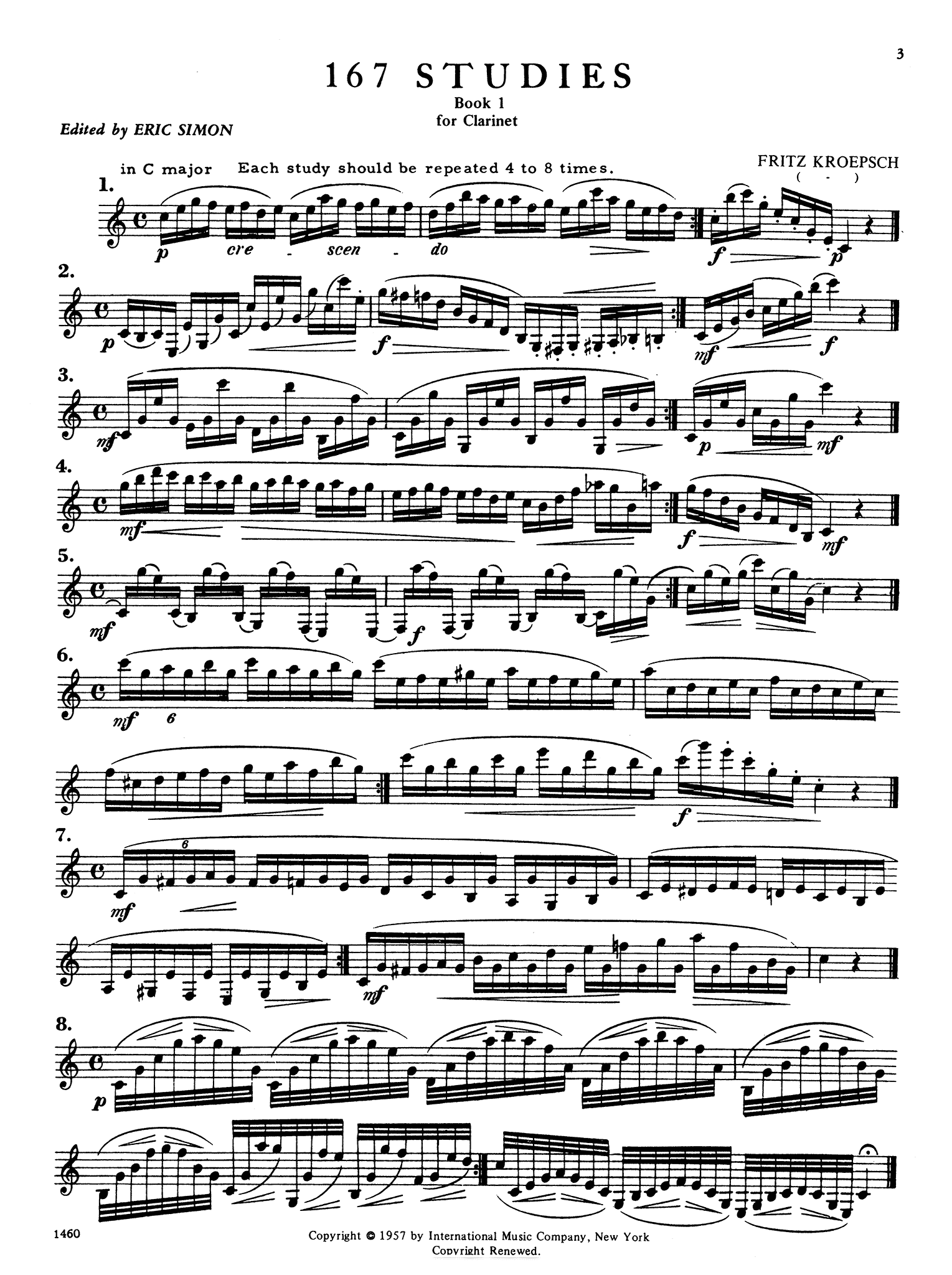 416 Progressive Studies for Clarinet, Book 1 Page 3