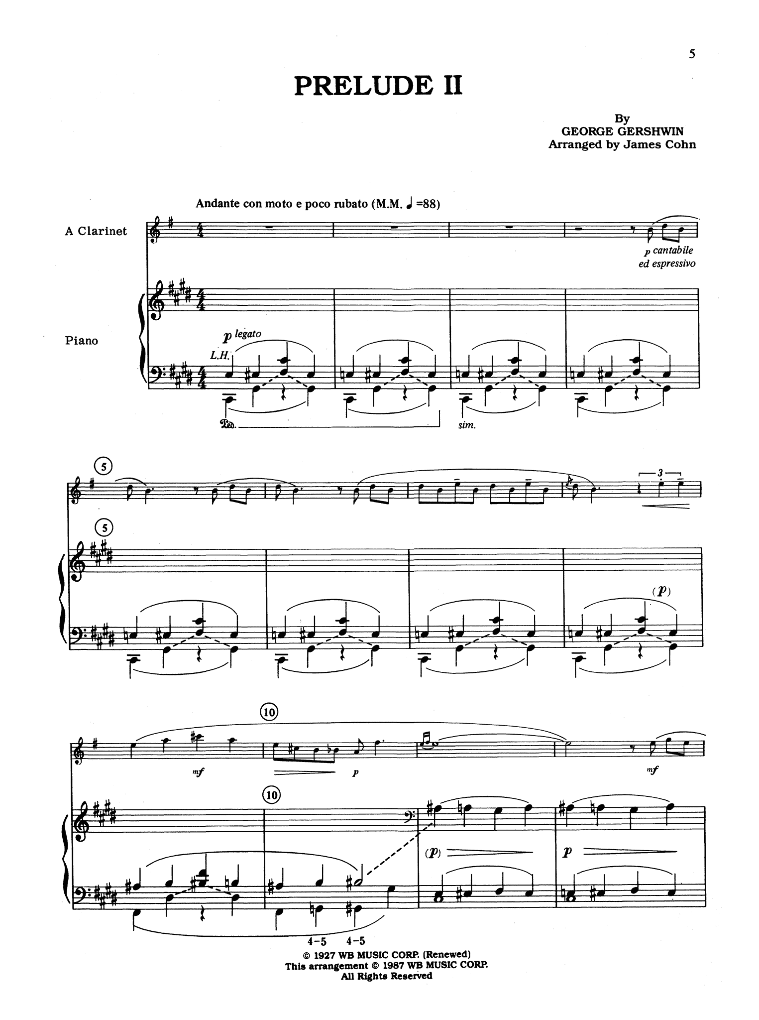 Gershwin 3 Preludes, arranged by Cohn - Movement 2
