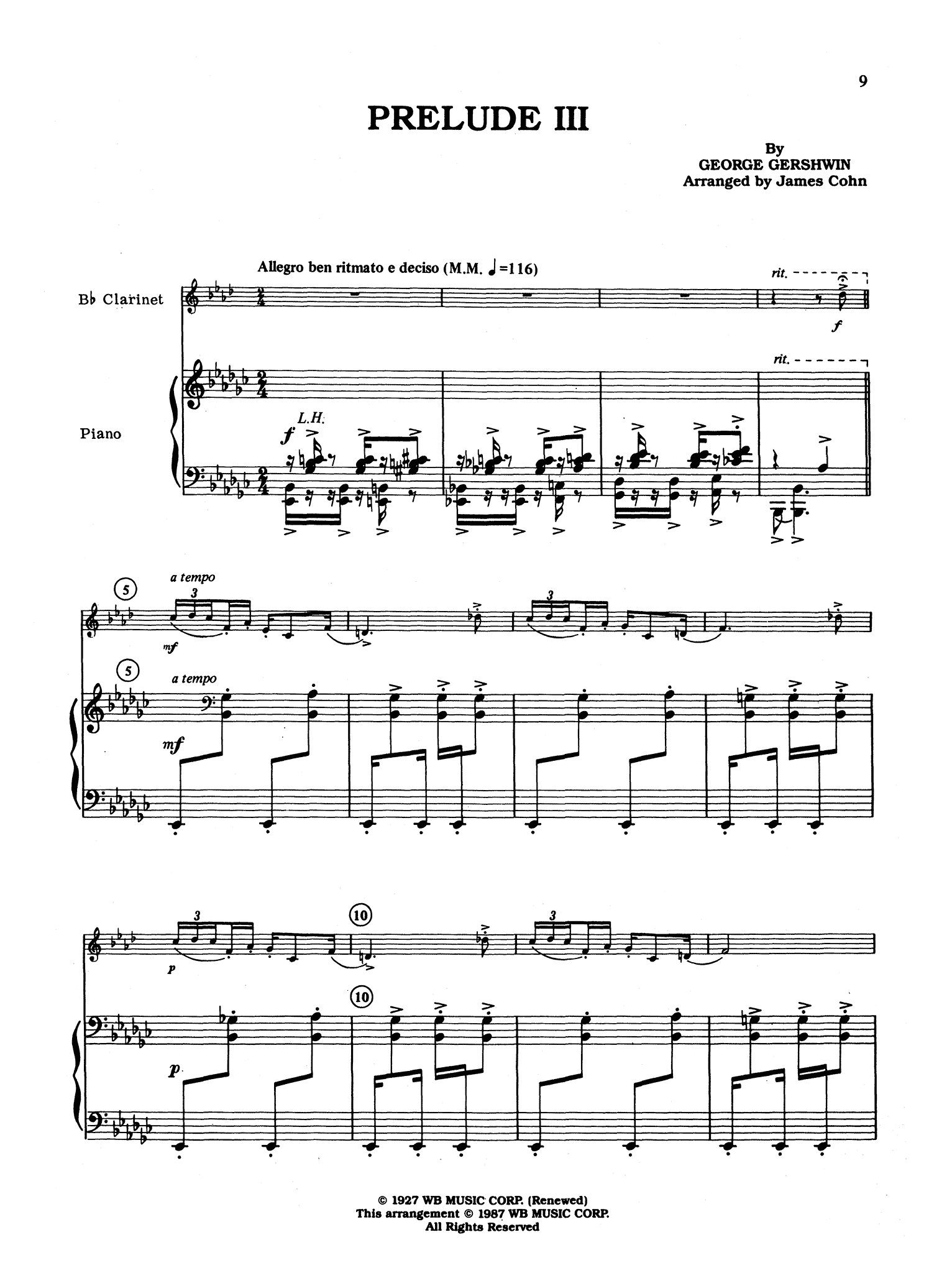 Gershwin 3 Preludes, arranged by Cohn - Movement 3