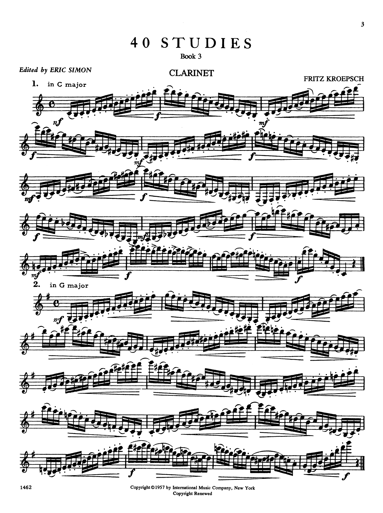 416 Progressive Studies for Clarinet, Book 3 Page 3