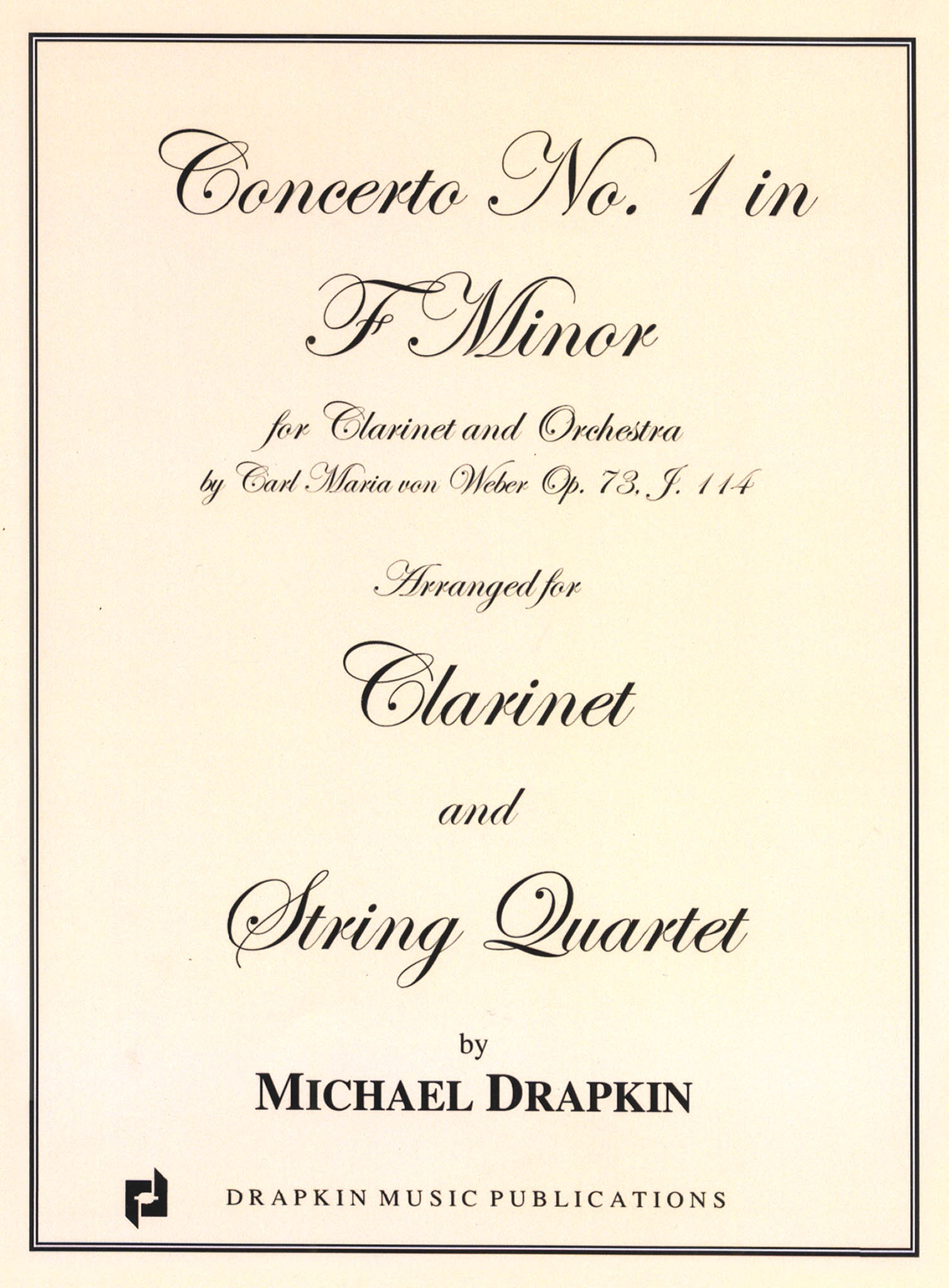 Clarinet Concerto No. 1, Op. 73 Cover