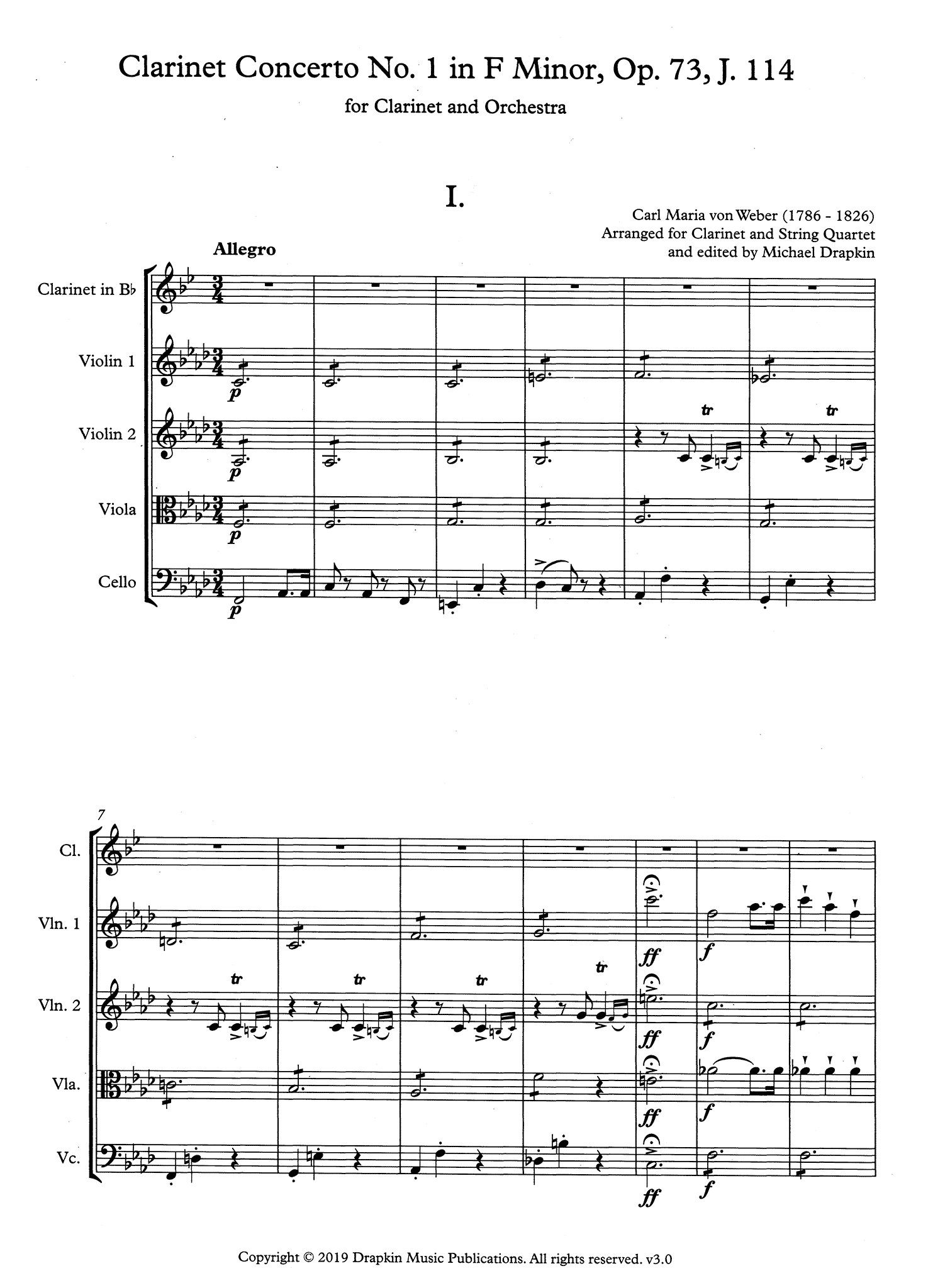 Clarinet Concerto No. 1, Op. 73 - Movement 1