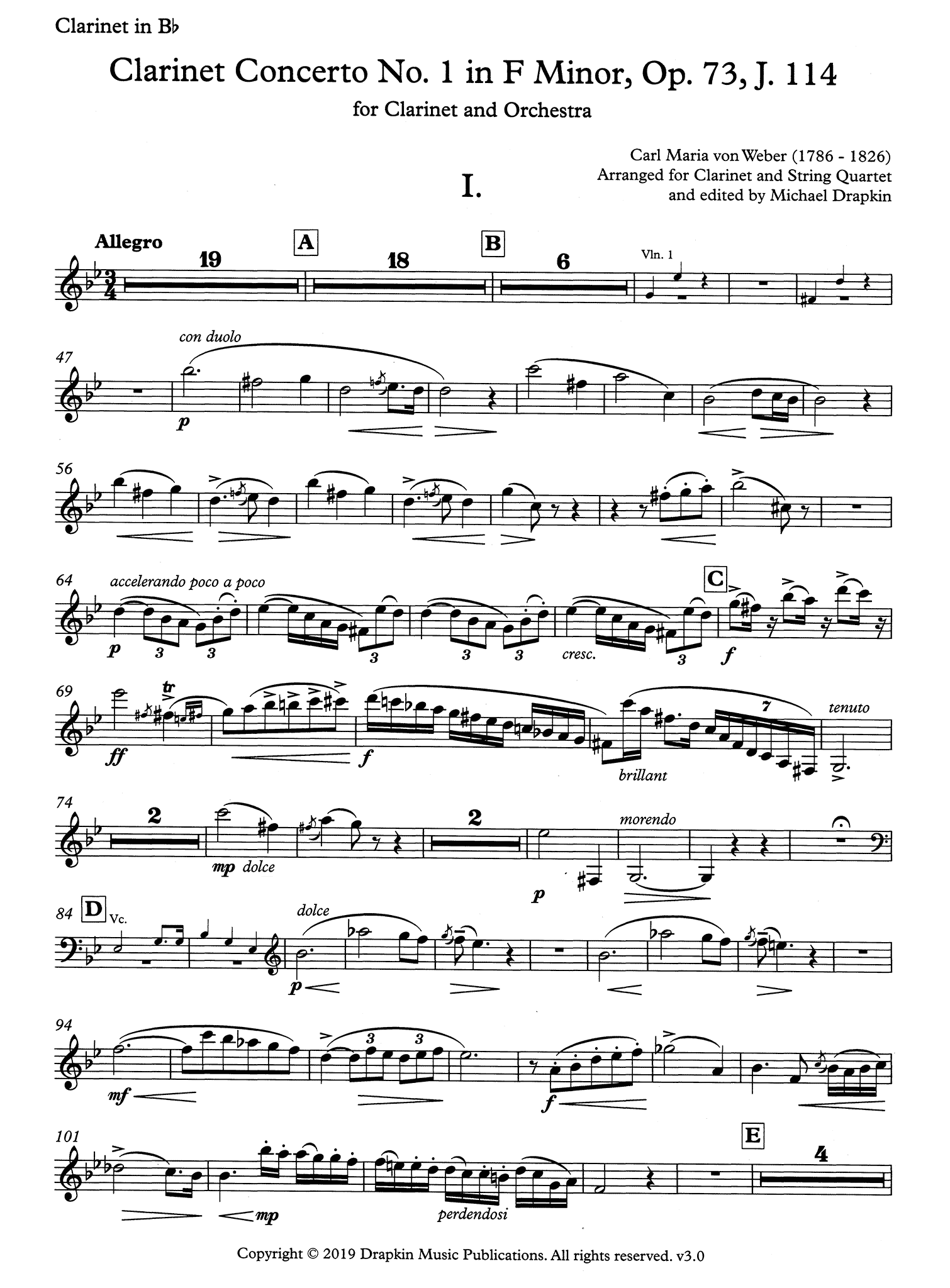 Clarinet Concerto No. 1, Op. 73 Clarinet part