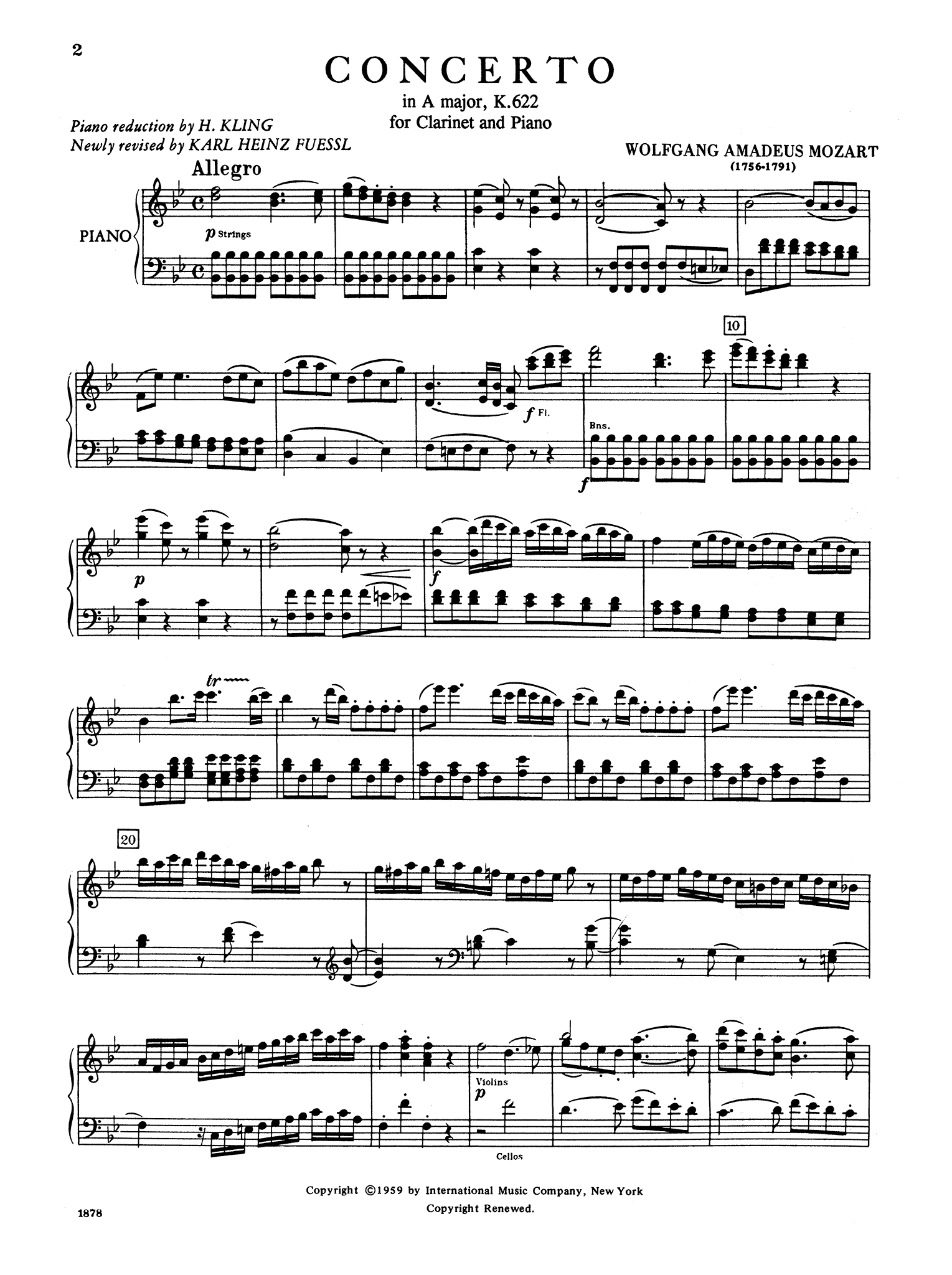 Clarinet Concerto in A Major, K. 622 (B-flat version) - Movement 1