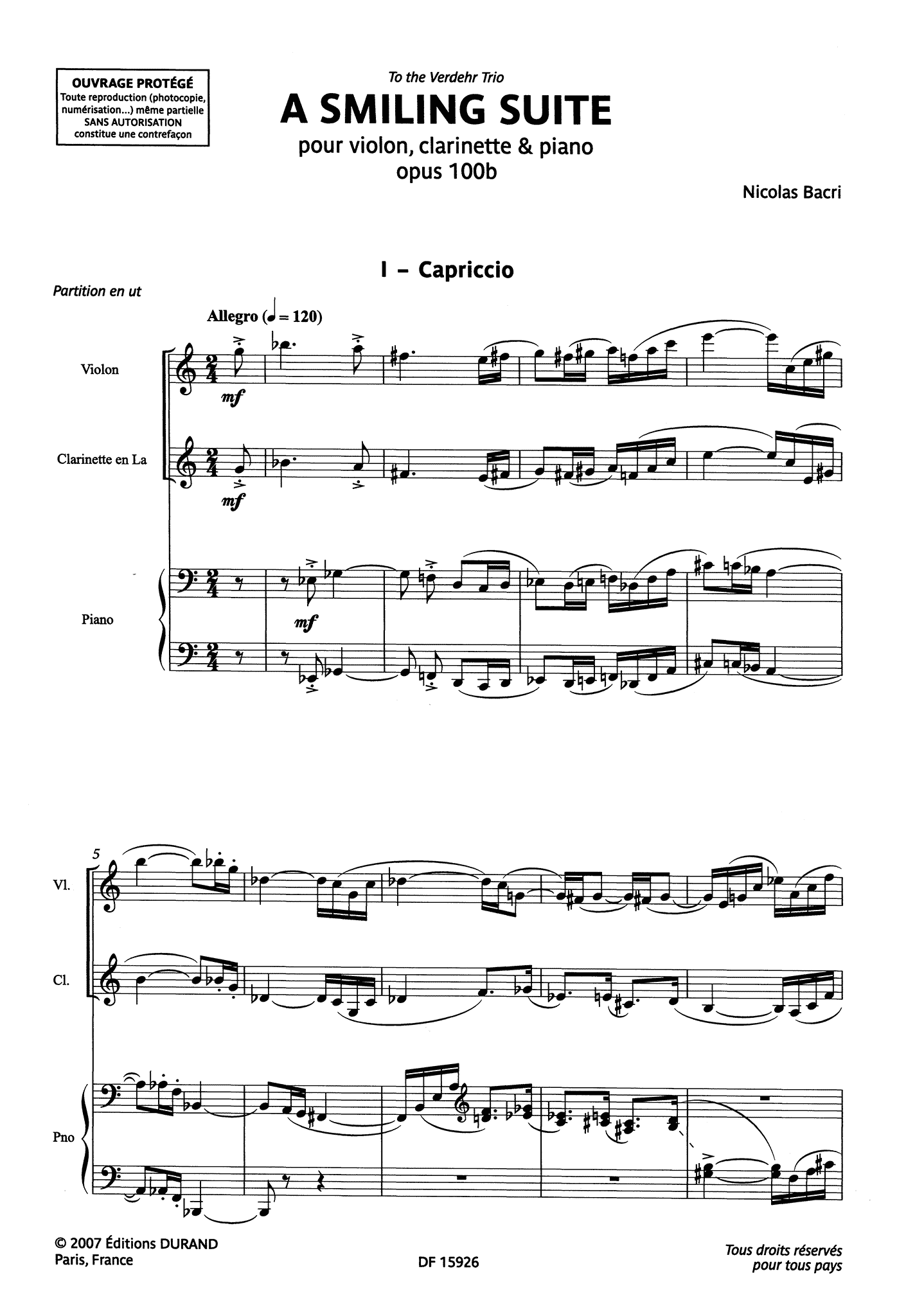 Bacri A Smiling Suite, Op. 100b - Movement 1