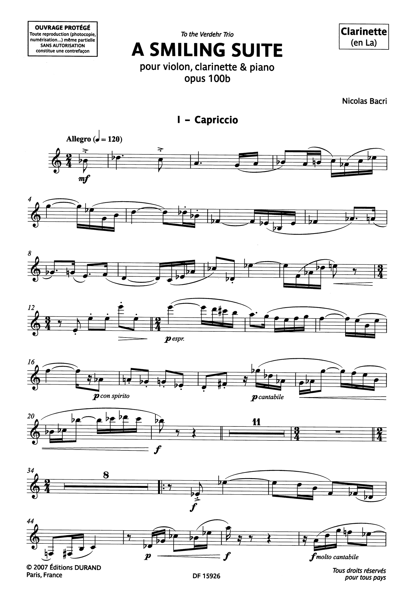 Bacri A Smiling Suite, Op. 100b clarinet part