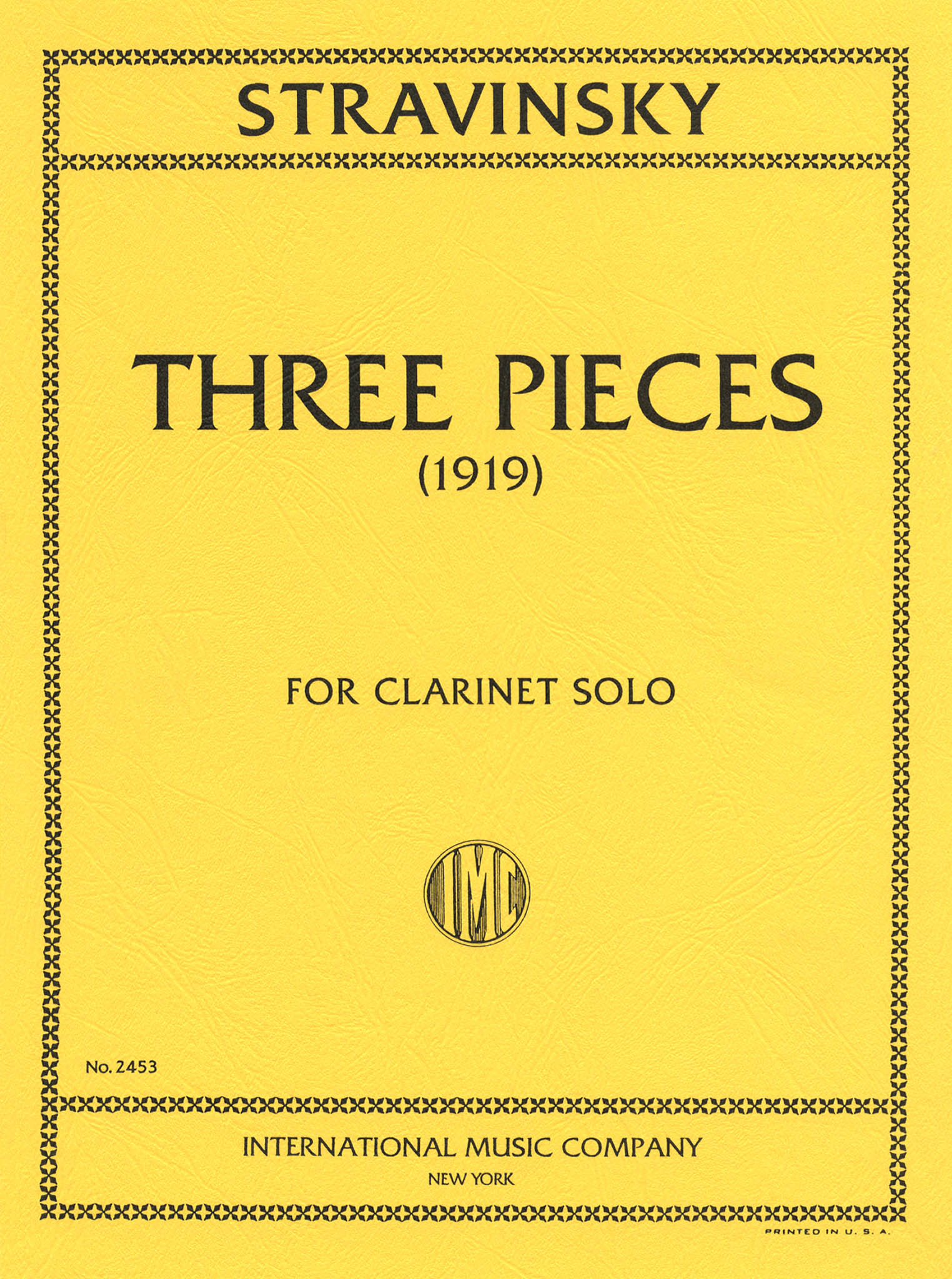 Three Pieces for Clarinet Solo Cover