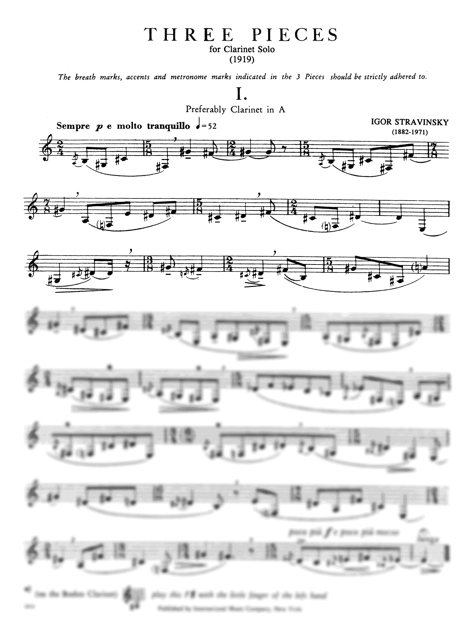 Three Pieces for Clarinet Solo - Movement 1