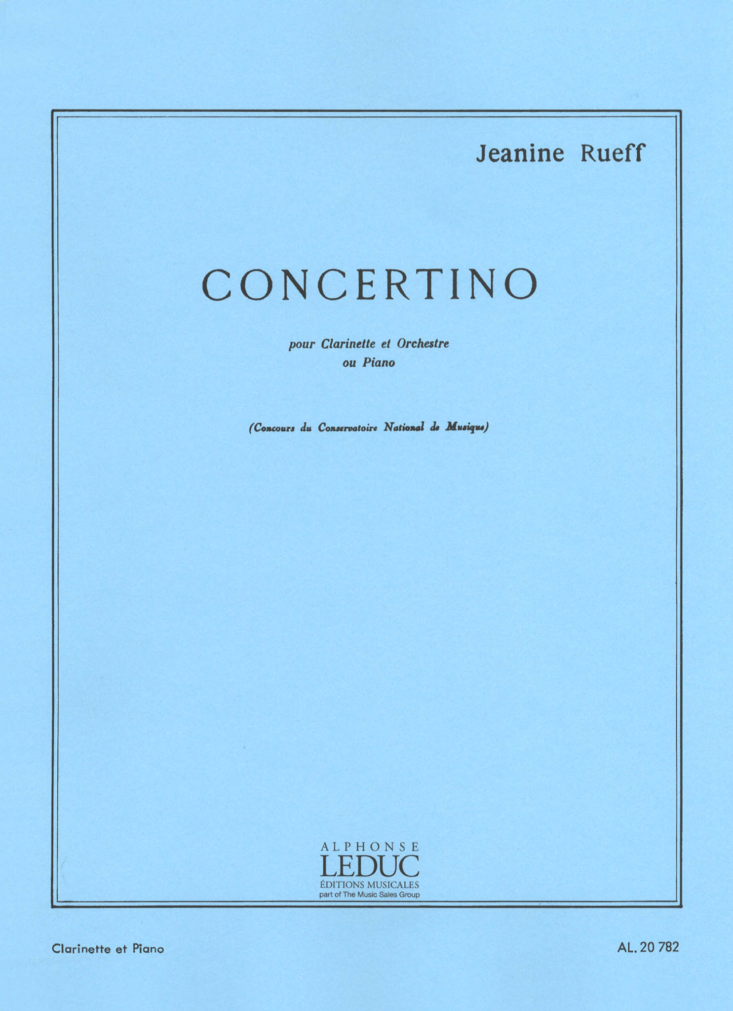 Rueff Clarinet Concertino, Op. 15 Cover