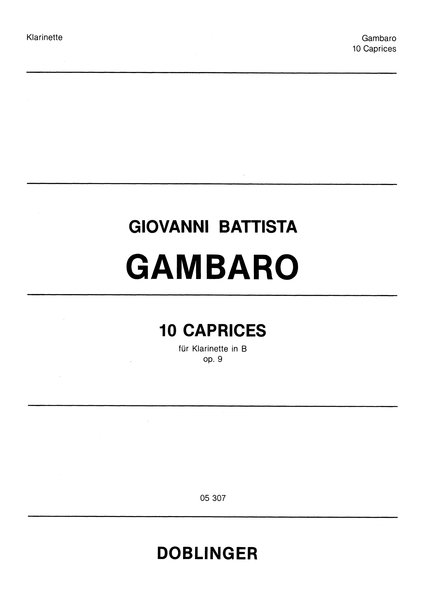 Gambaro 10 Caprices for Clarinet, Op. 9 Cover