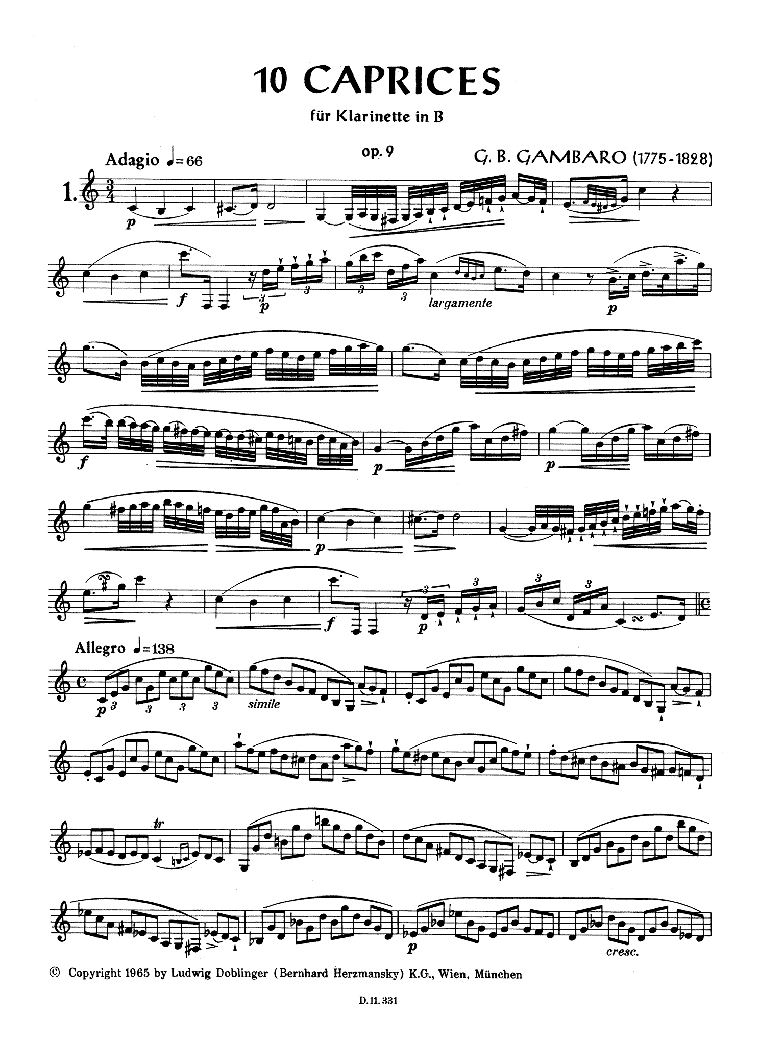 Gambaro 10 Caprices for Clarinet, Op. 9 Page 2