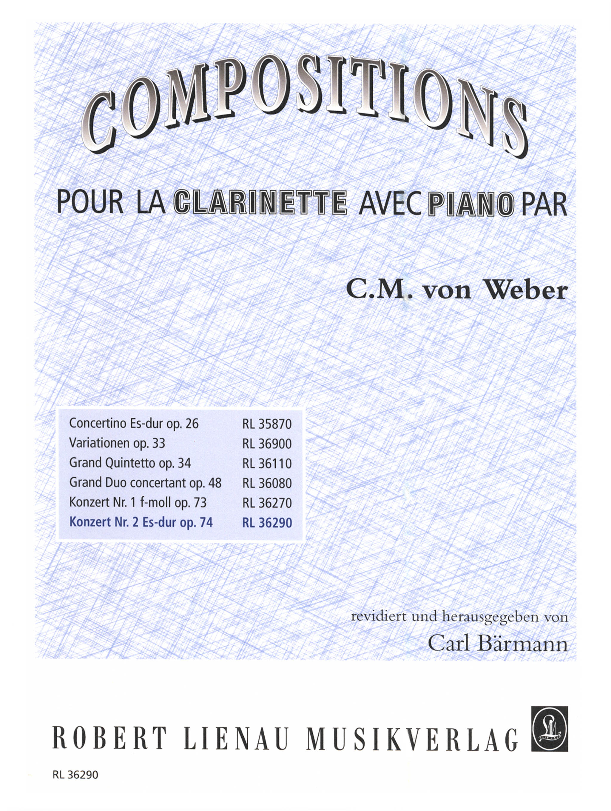 Clarinet Concerto No. 2, Op. 74 Cover