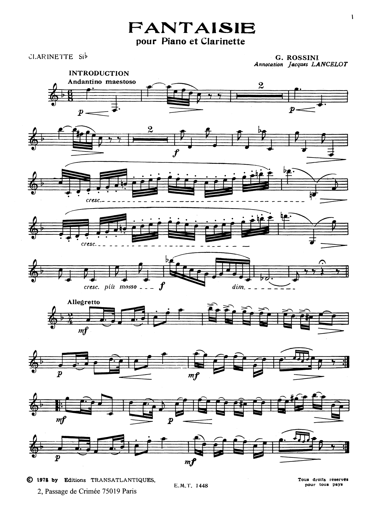 Rossini Fantasy Clarinet part