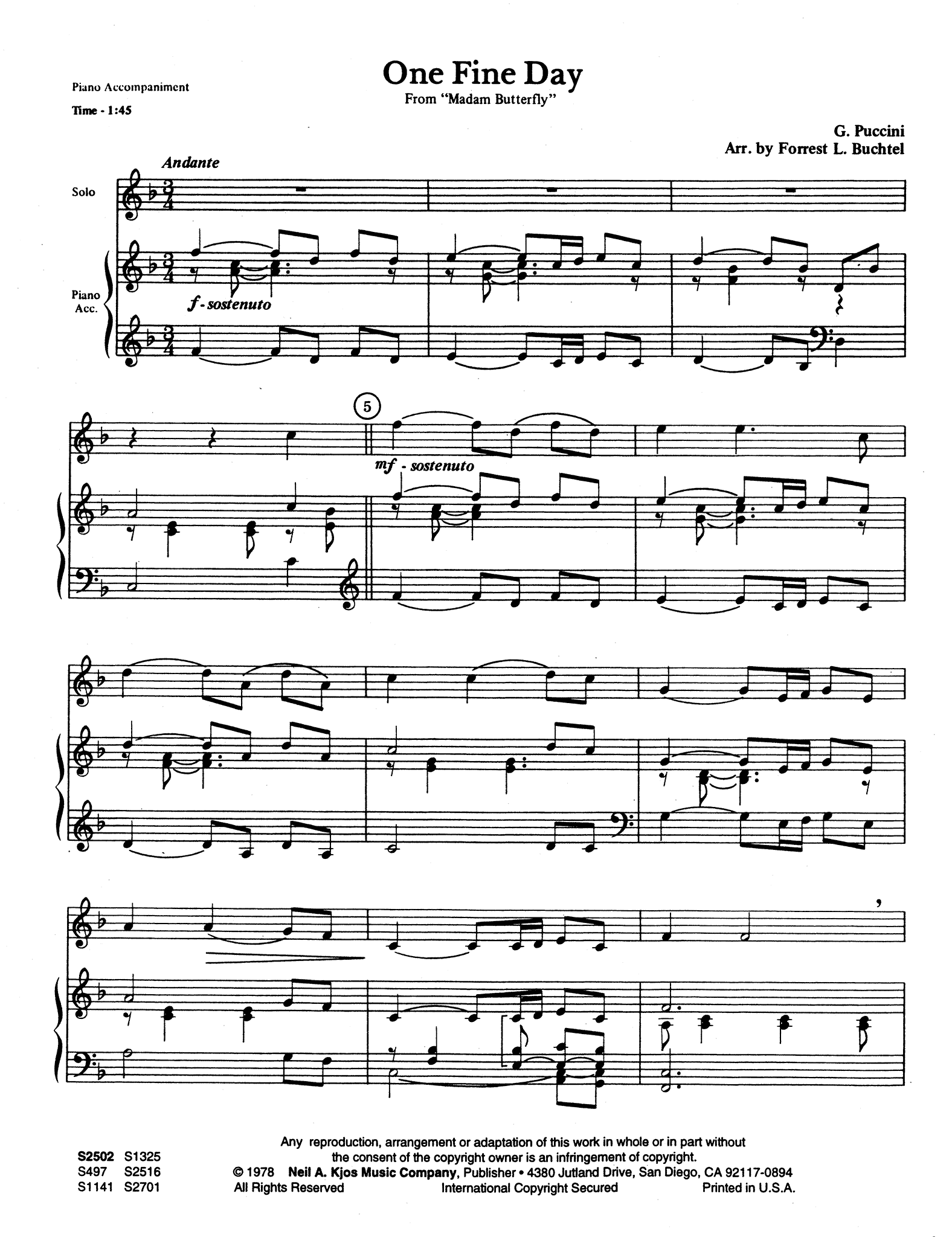 Un bel dì vedremo, from 'Madama Butterfly' Score