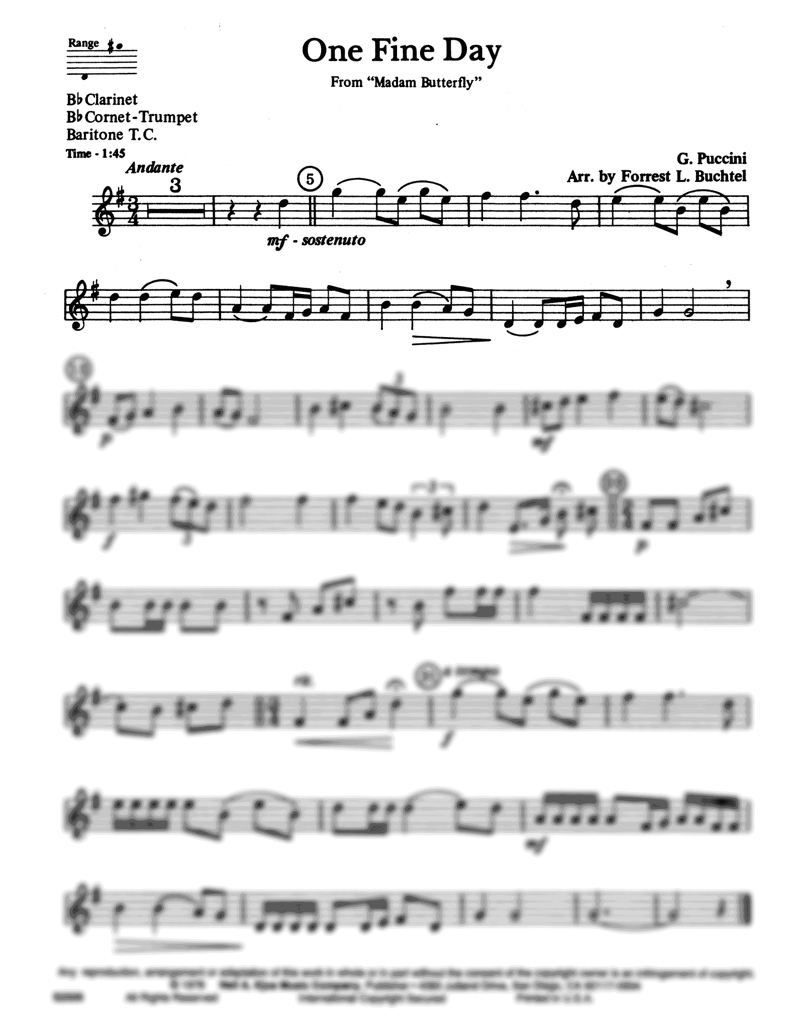 Un bel dì vedremo, from 'Madama Butterfly' Clarinet part