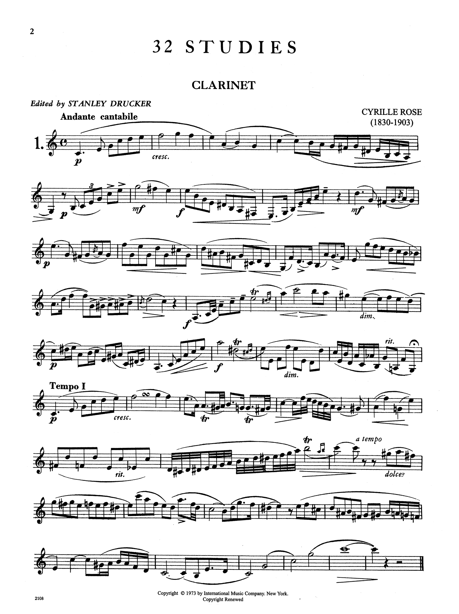 32 Études for Clarinet Page 2