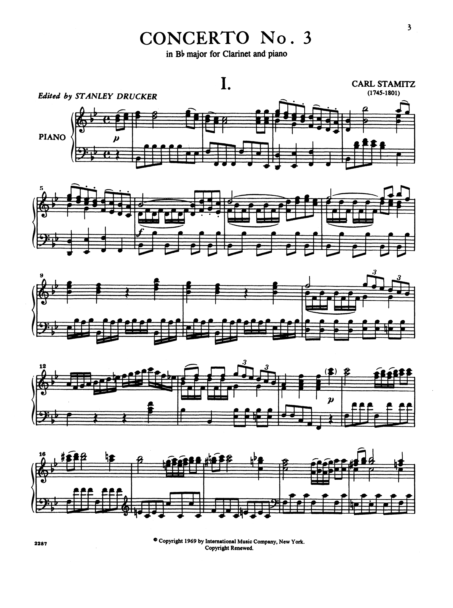 Clarinet Concerto No. 3 in B-flat Major - Movement 1
