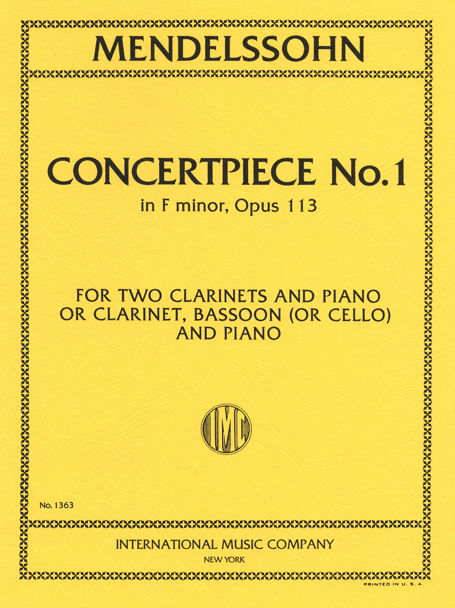 Concertpiece No. 1 in F Minor, Op. 113 Cover