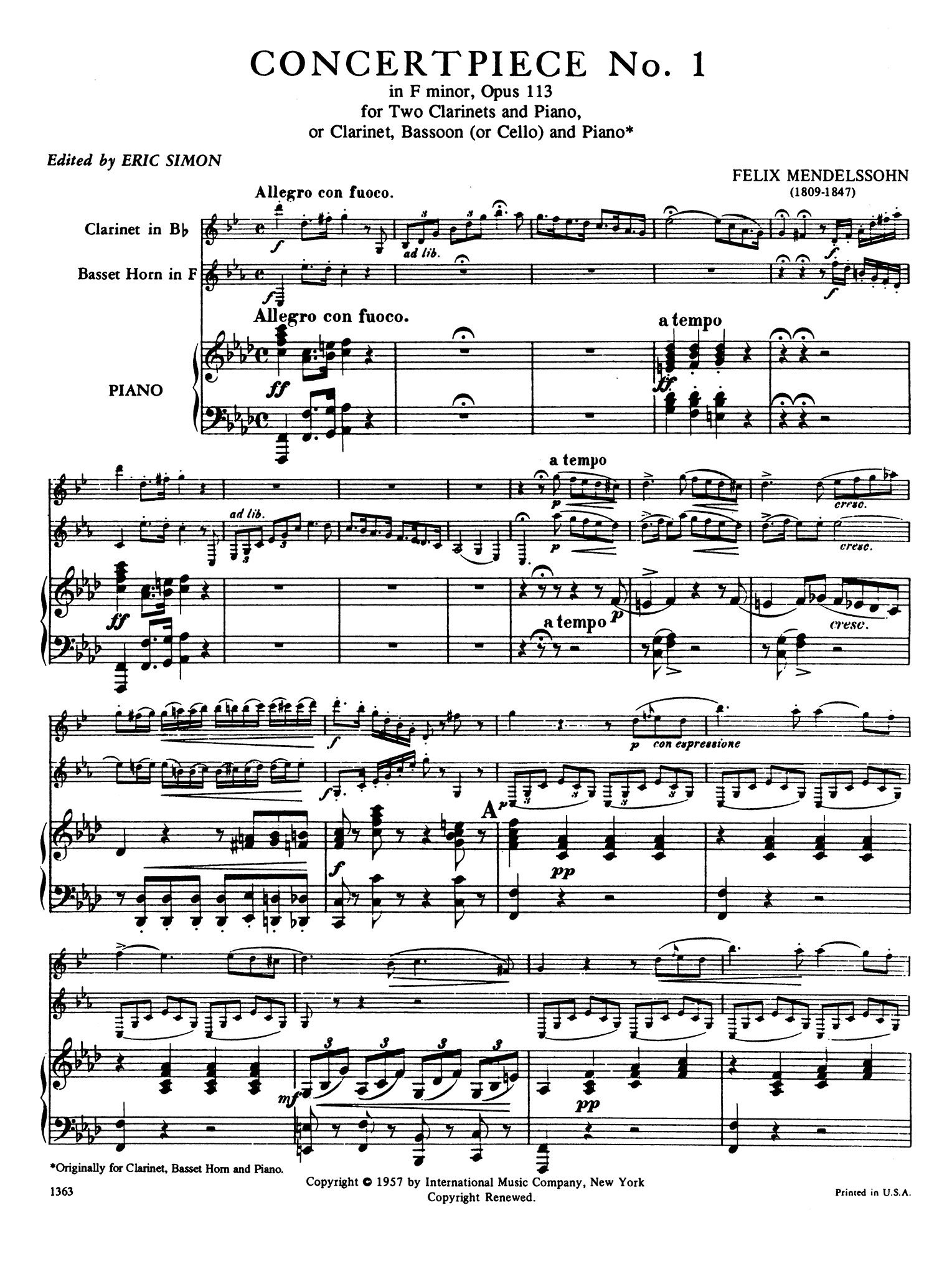 Concertpiece No. 1 in F Minor, Op. 113 Score