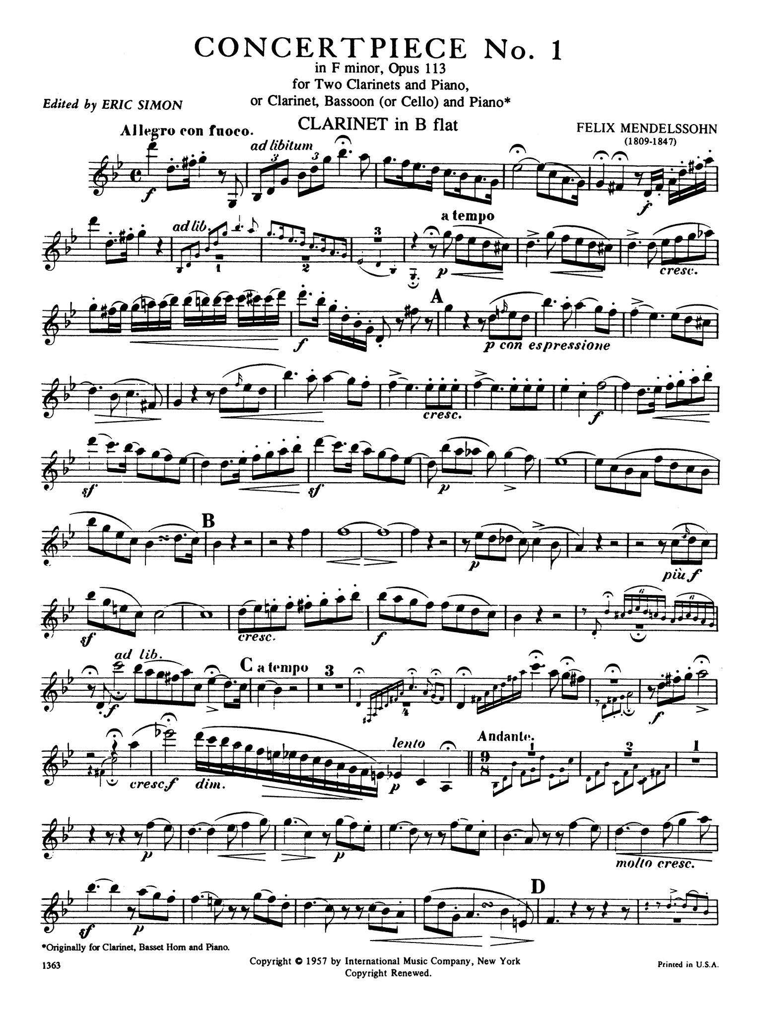 Concertpiece No. 1 in F Minor, Op. 113 First Clarinet part