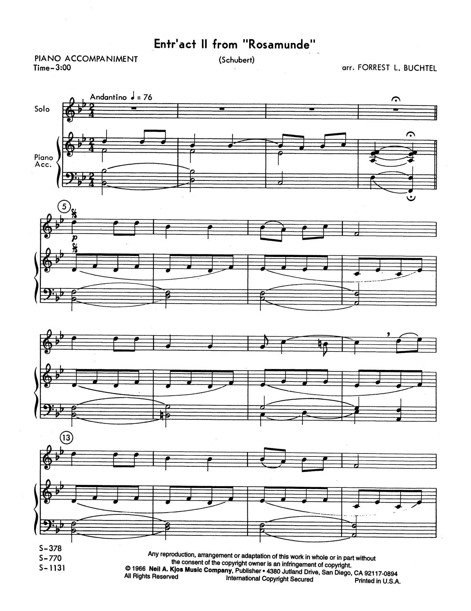 Entr'act No. 3, from 'Rosamunde,' D. 797 Score