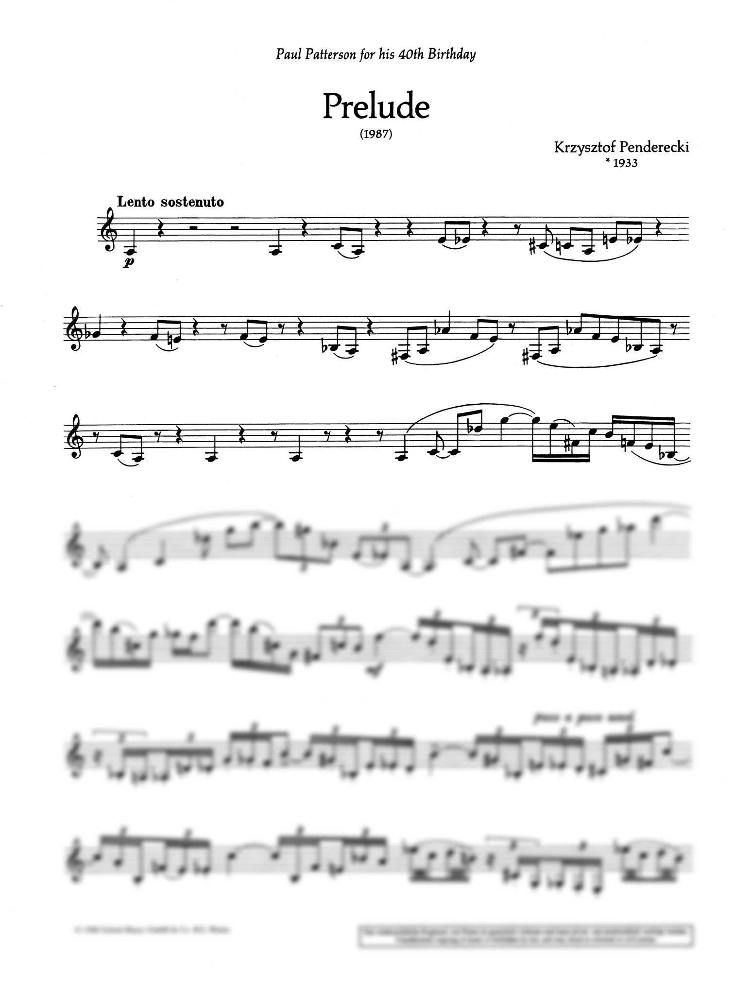 Prelude Clarinet part