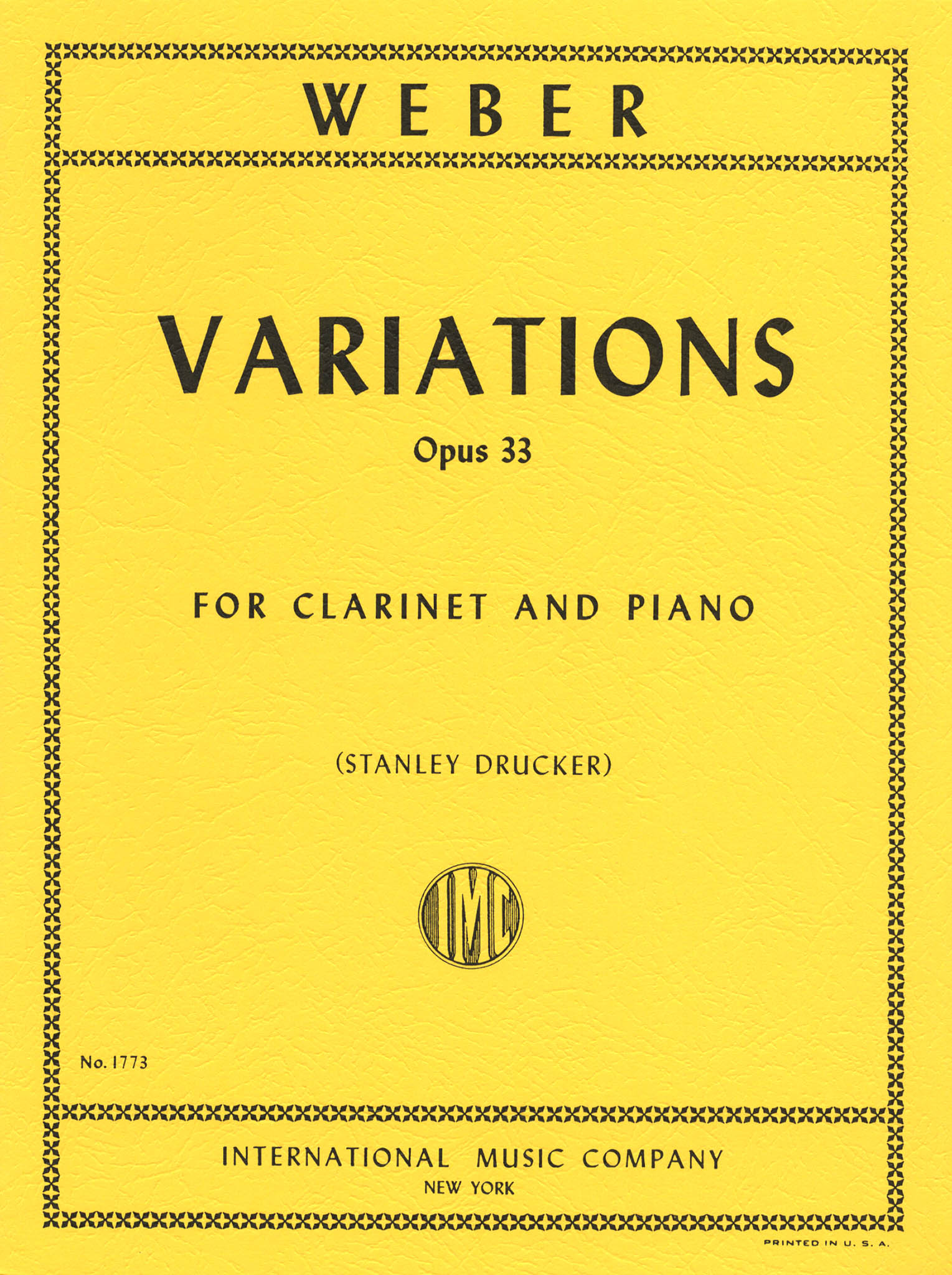 Variations on a theme from Silvana, Op. 33, J. 128 Cover