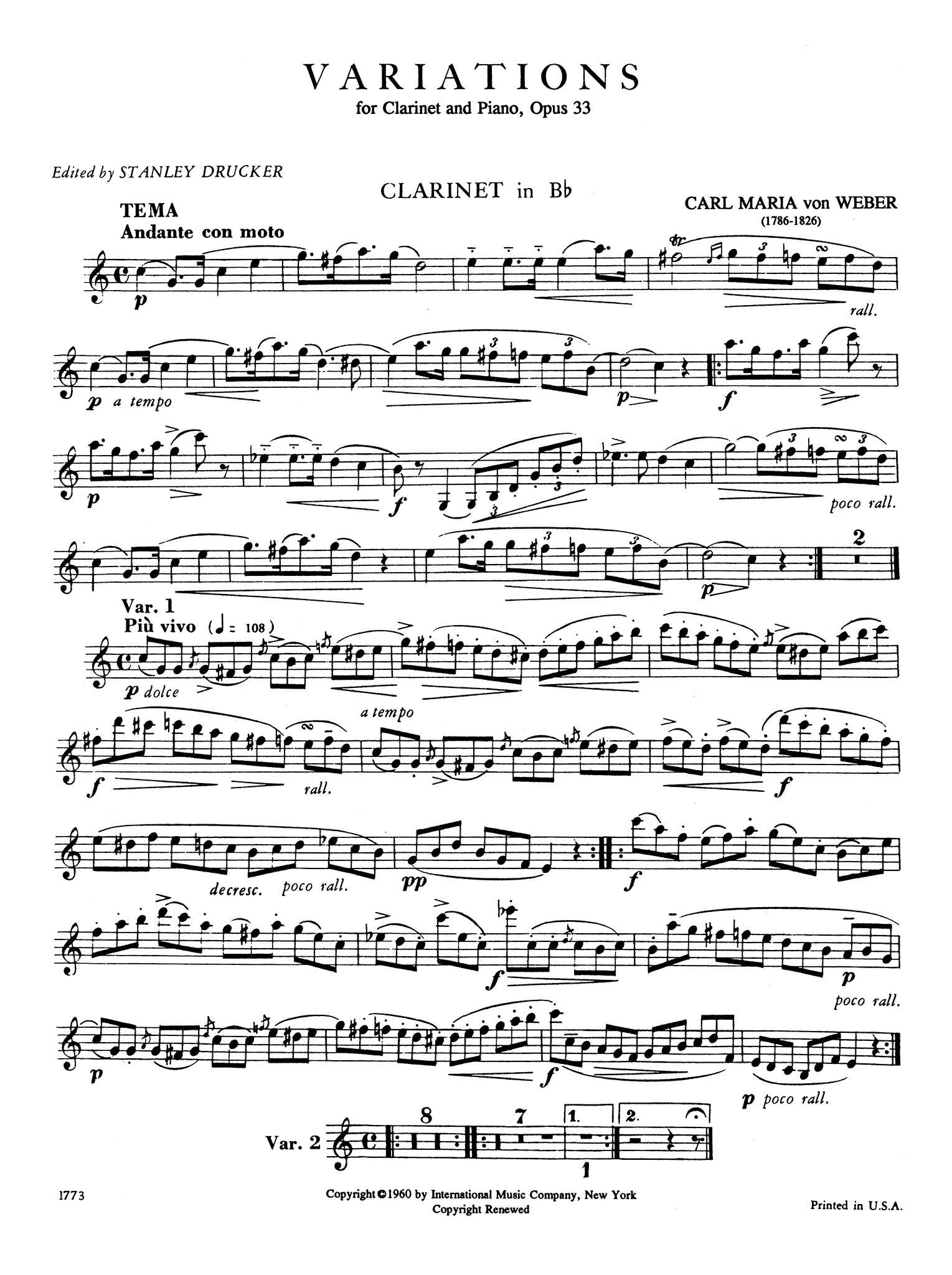 Variations on a theme from Silvana, Op. 33, J. 128 Clarinet part