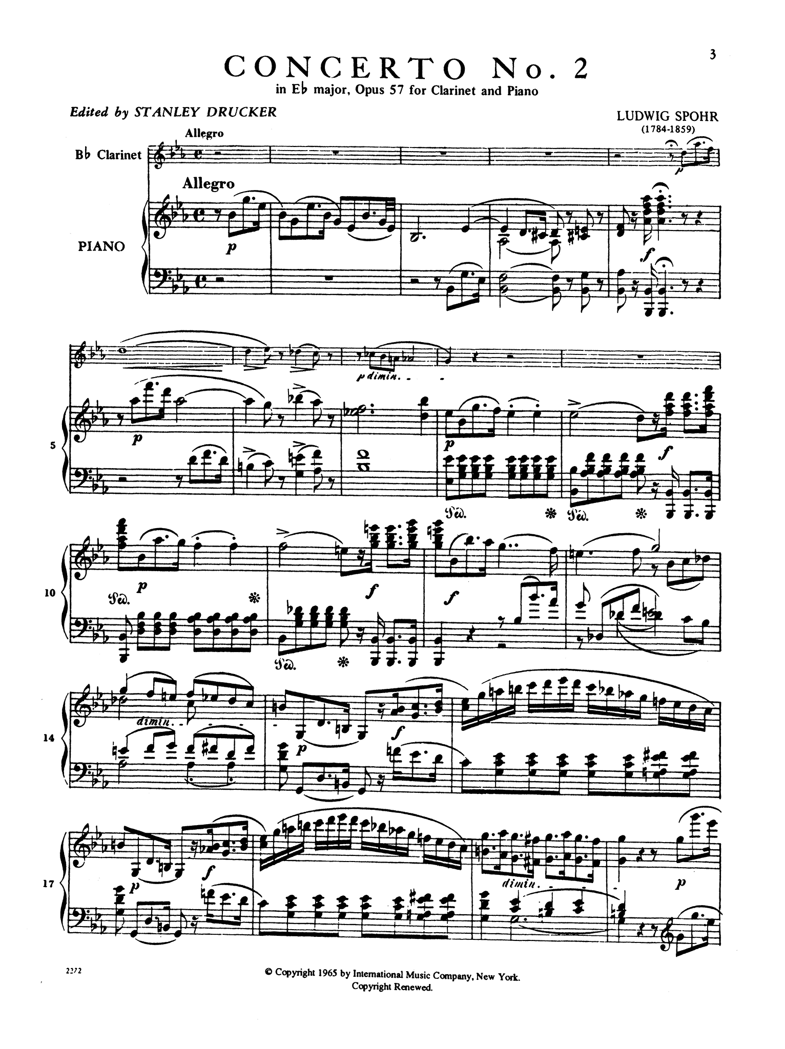 Clarinet Concerto No. 2 in E-flat Major, Op. 57 - Movement 1